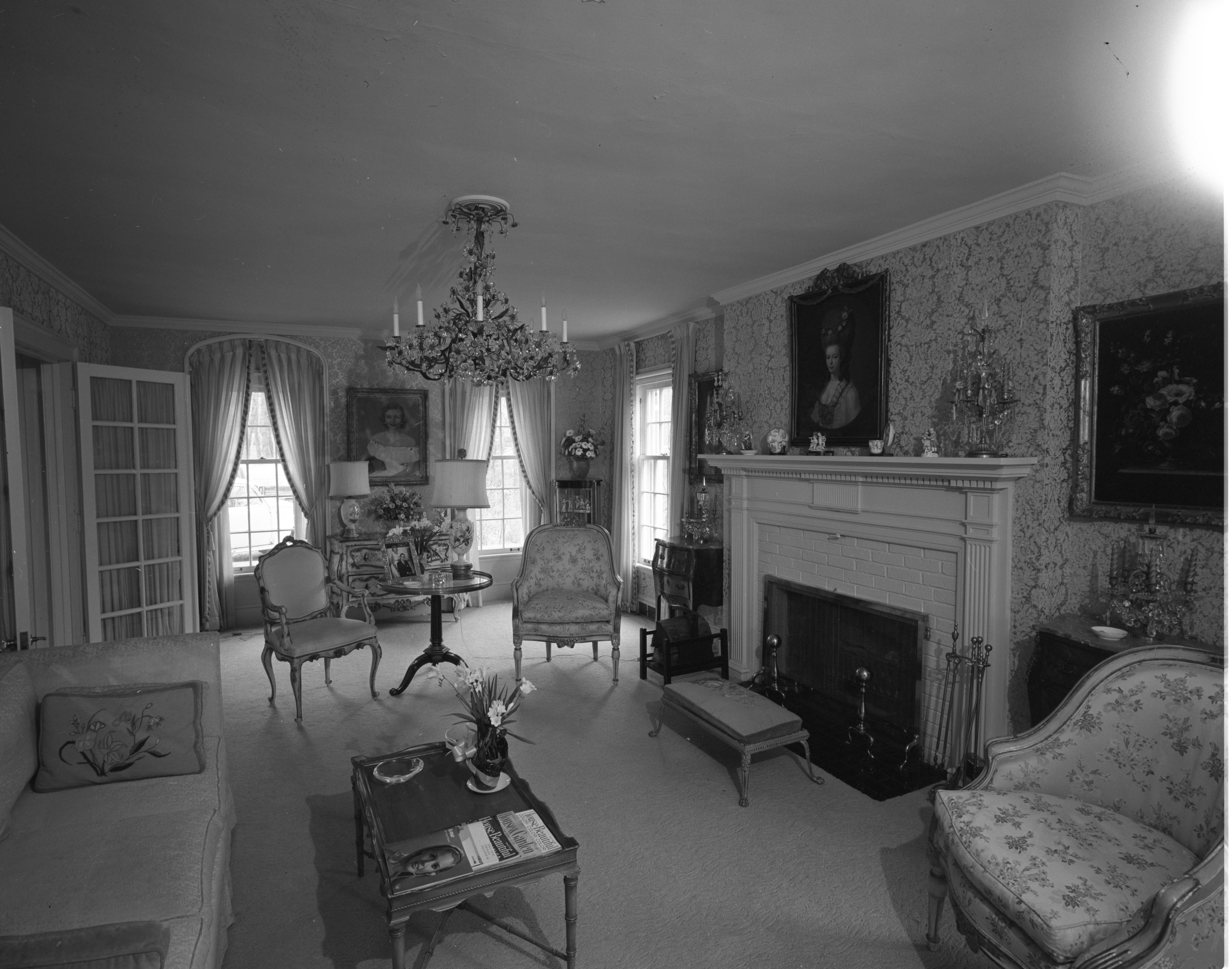 Living Room of Mr. and Mrs. Paul Tippett's Georgian Manor, April 1968 image