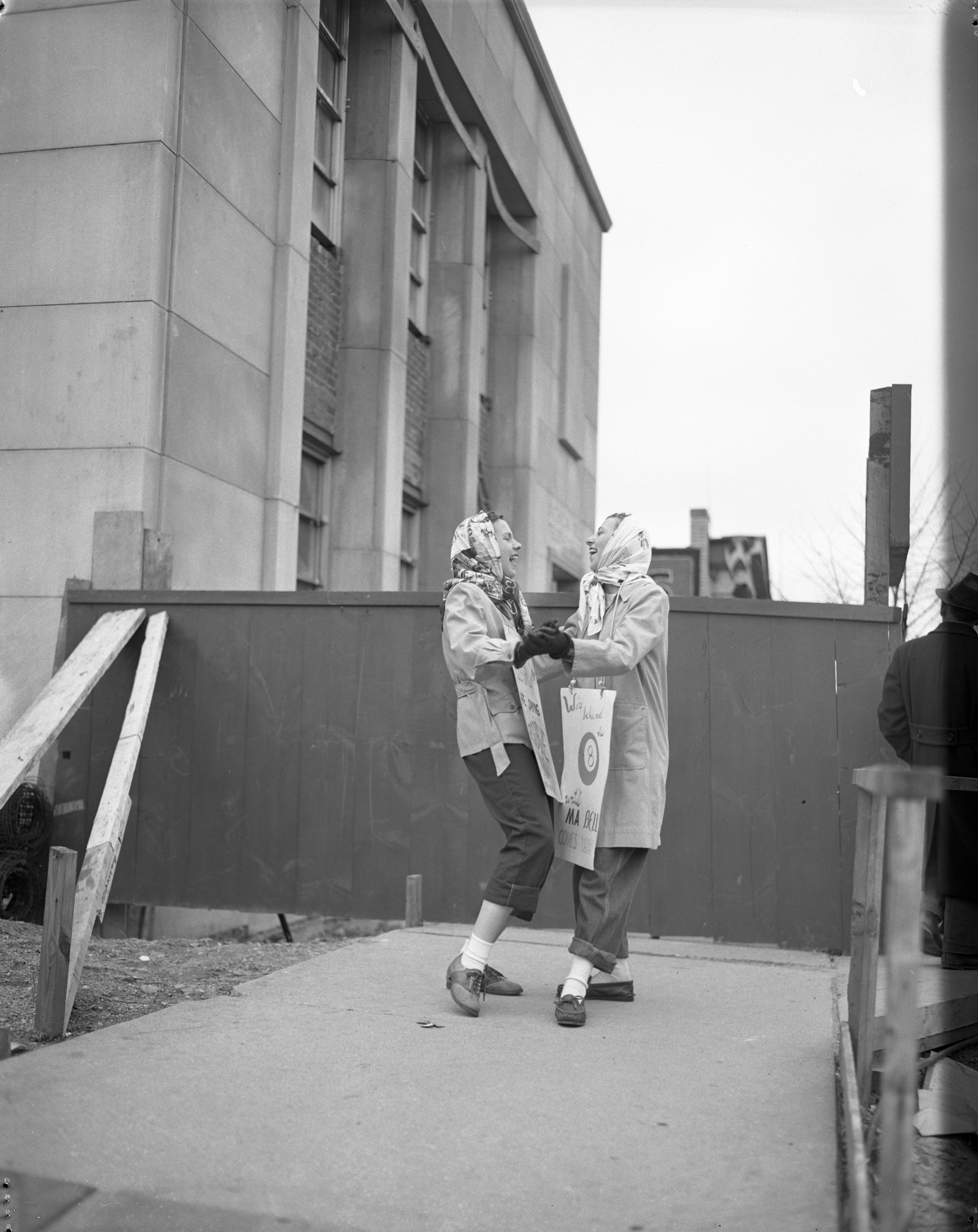 Virginia Suojanene and Dorothy Malt dance and picket during the Michigan Bell, AT&T Strike, April 1947 image