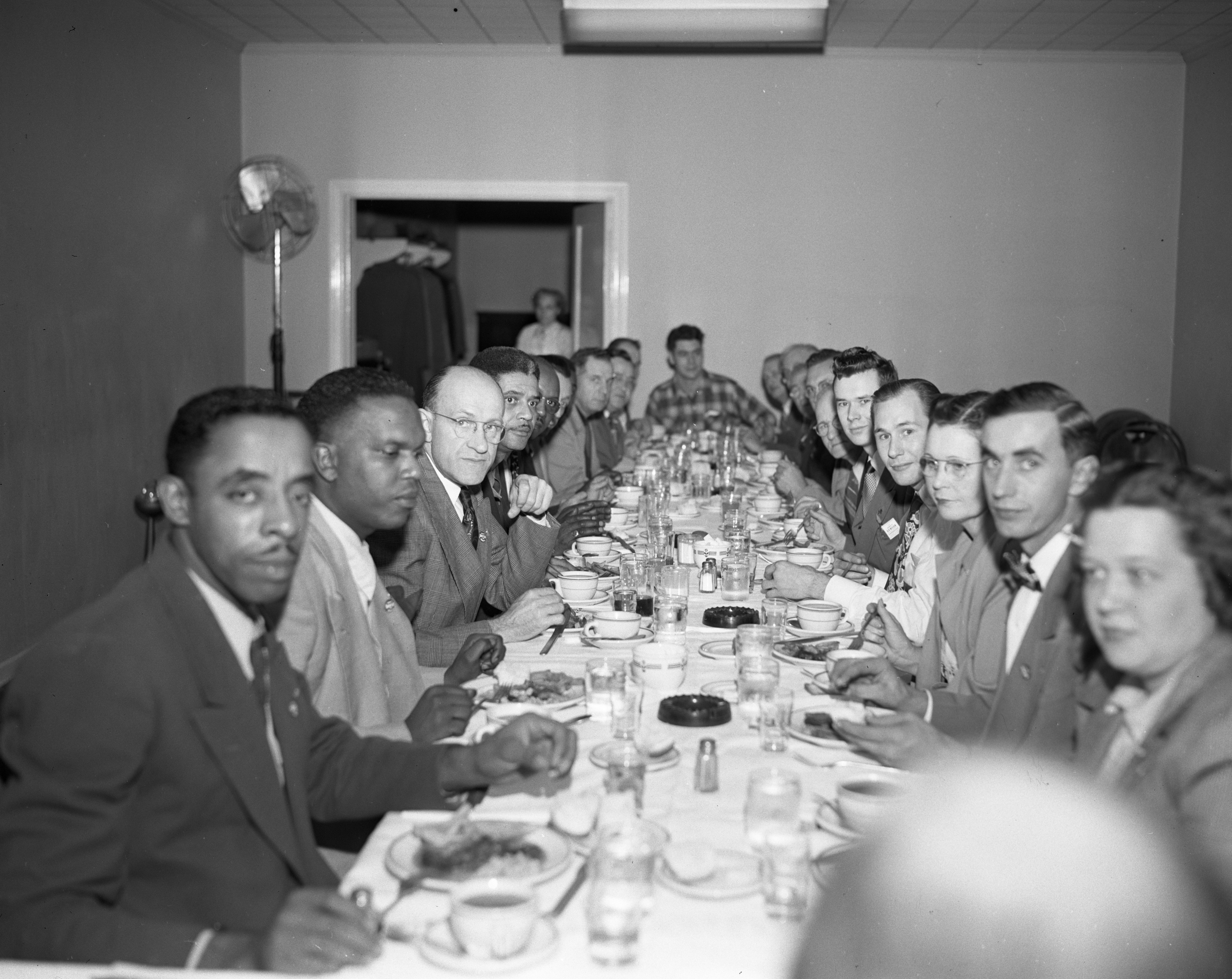 Labor leaders hold a union reorganization meeting at the Allenel Hotel, October 1950 image