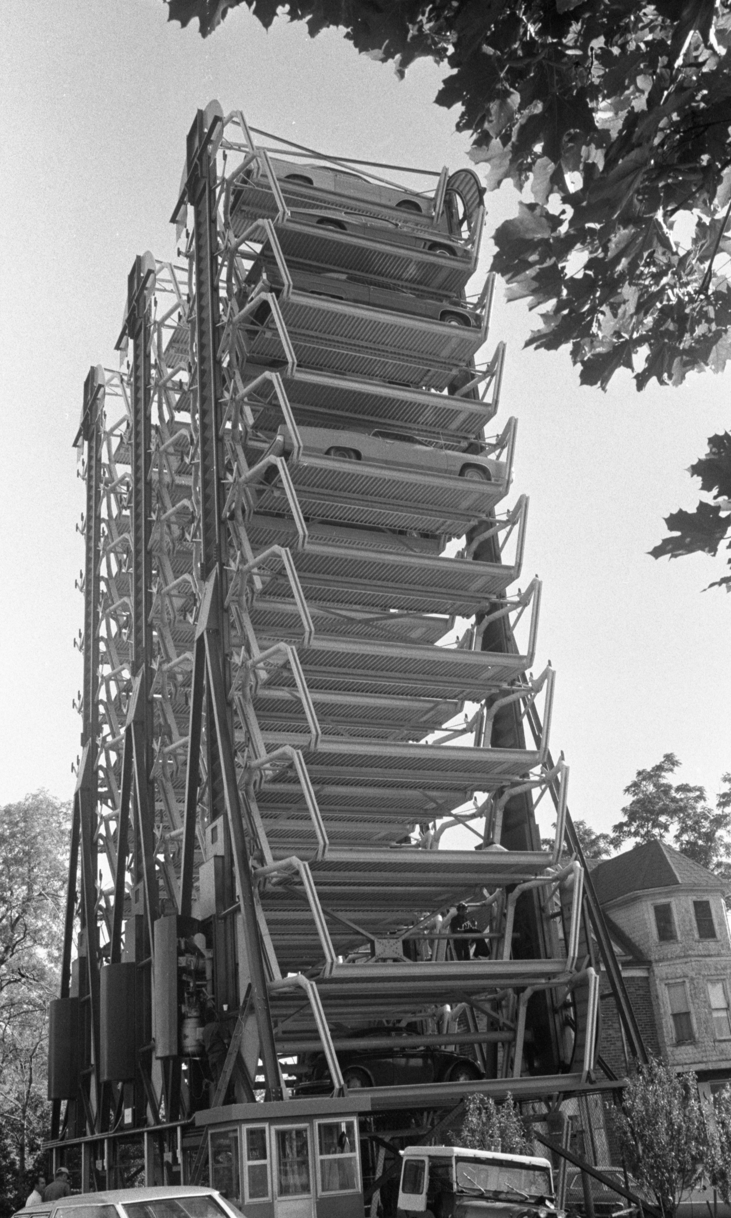 Cars Trapped On St. Joseph Mercy Hospital's Broken Park Mobile Structure, June 1974 image