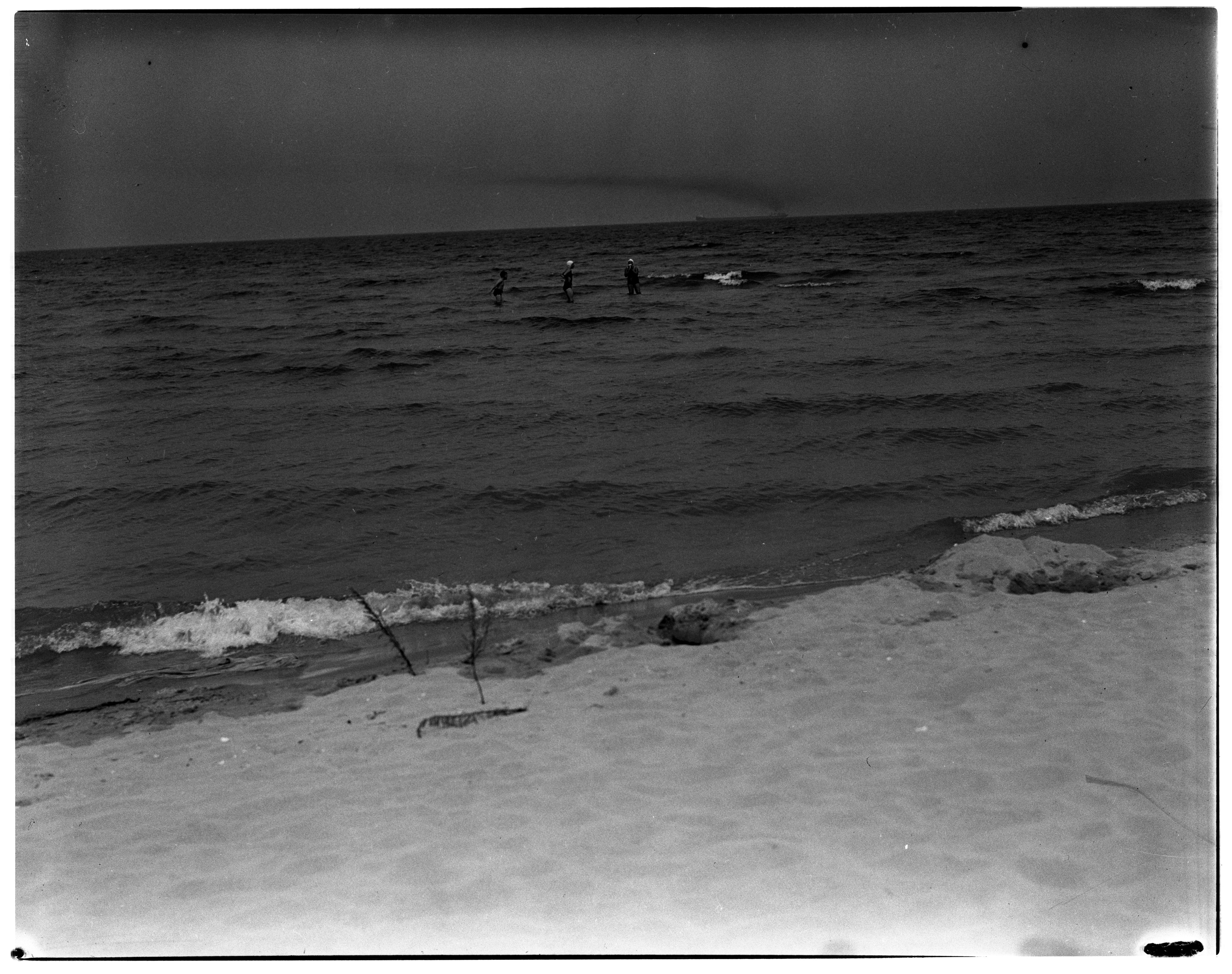 """Smoke Trails"", Bay City, MI to 40 Mile Point, MI  - Swimmers and Ship in Distance image"