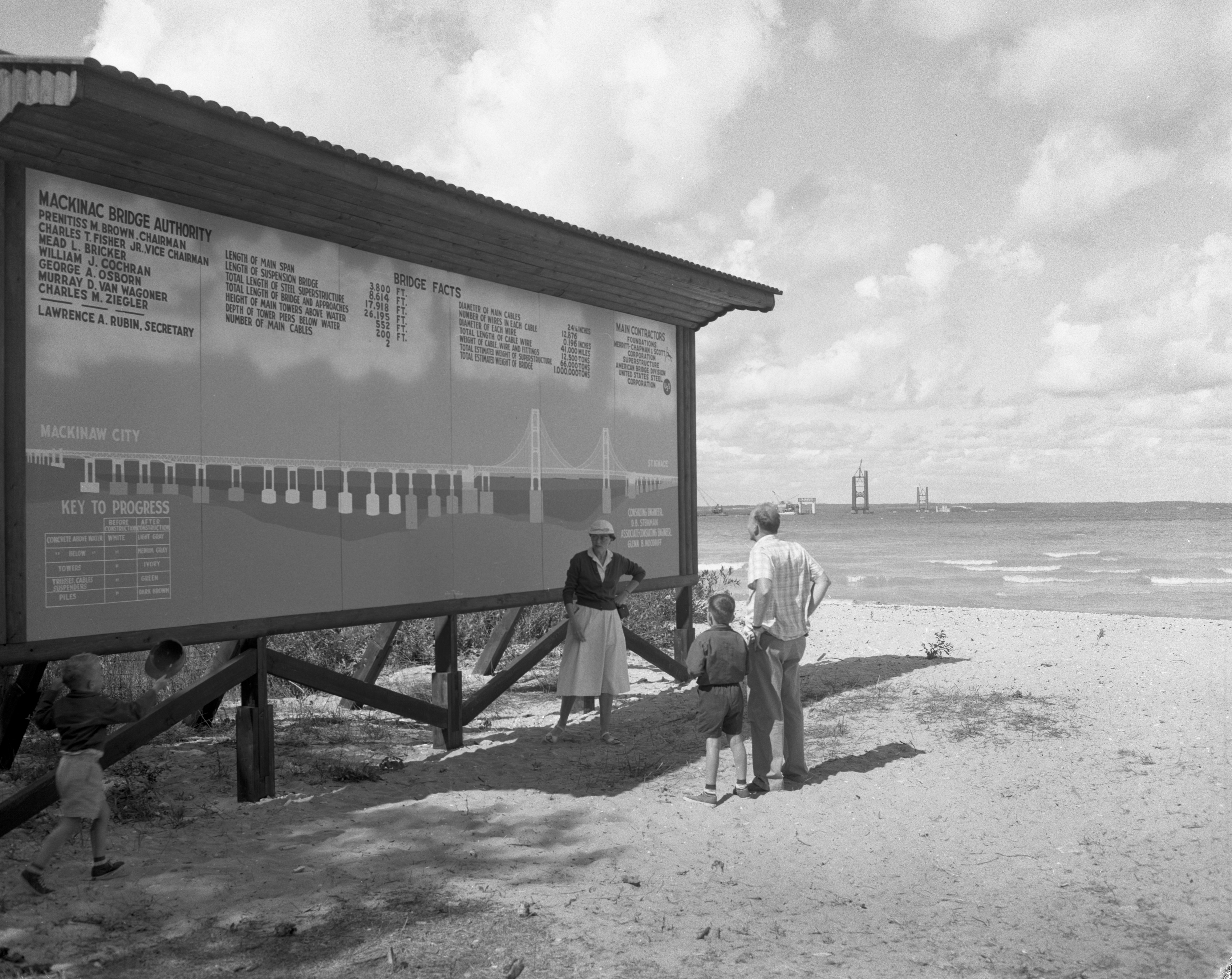 View of work on the Mackinaw Bridge, September 1955 image