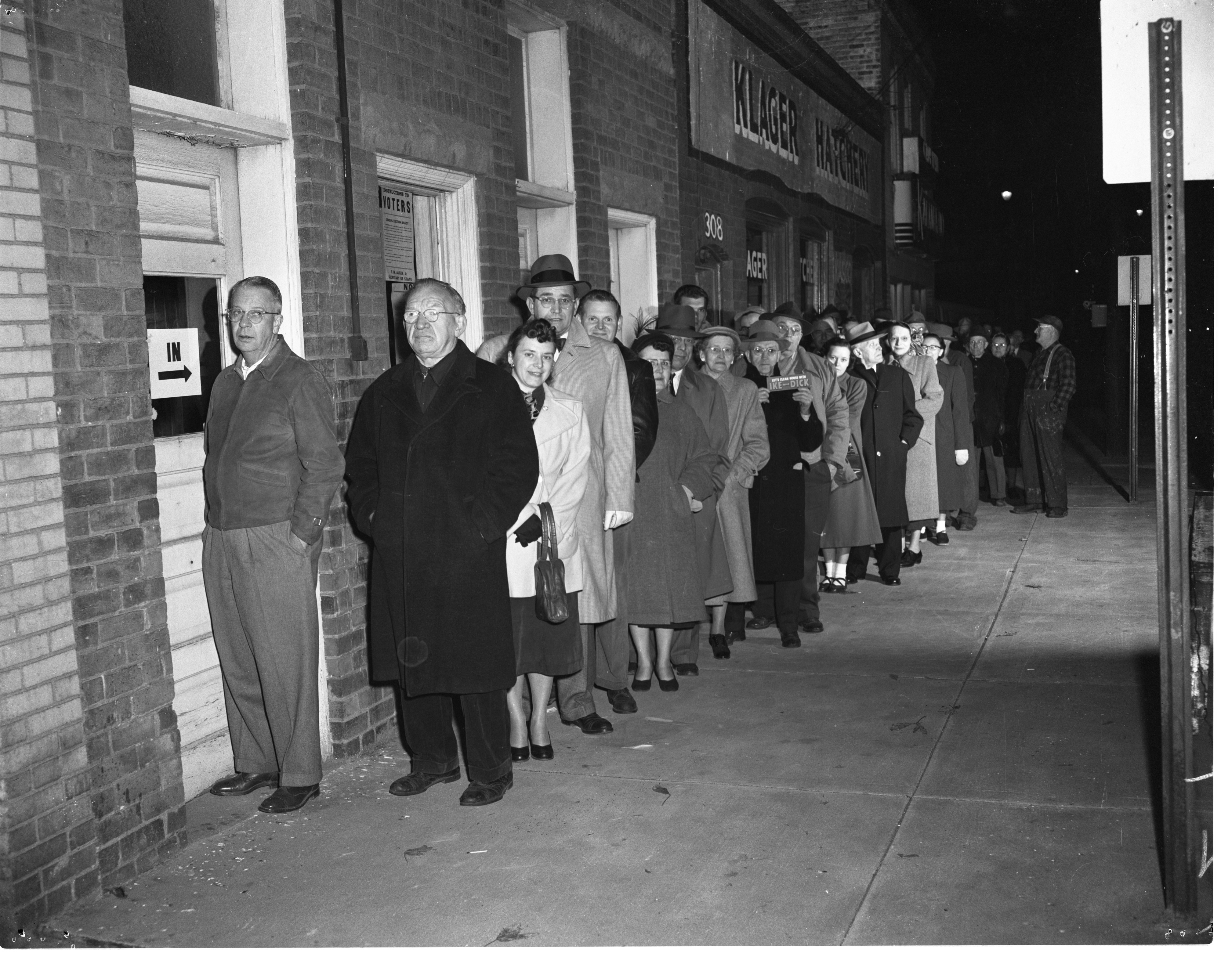Ann Arbor Second Ward Voters Lined Up Before Polls Open For The 1952 Presidential Election - November 4, 1952 image