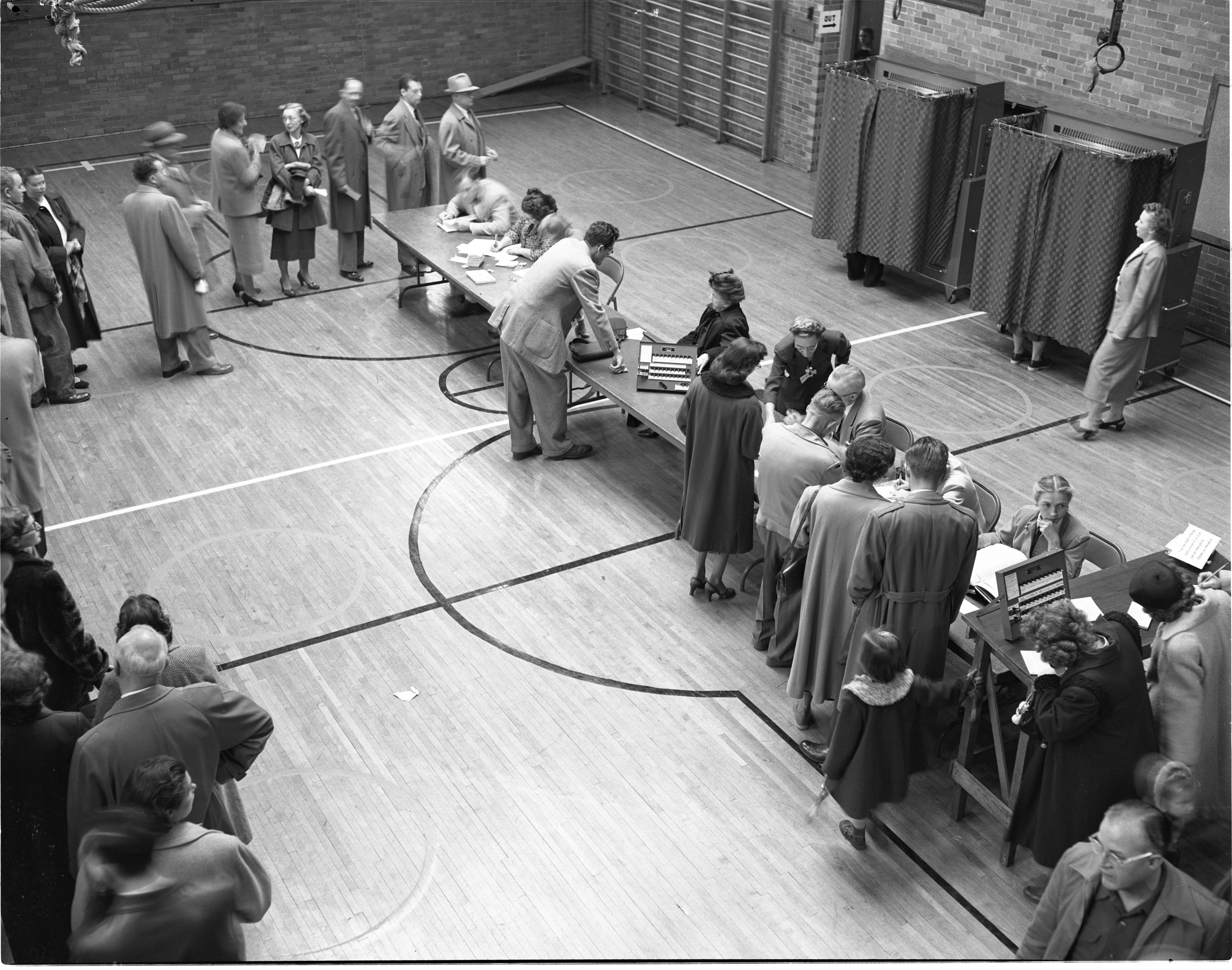 Ann Arbor Voters Wait To Cast Their Ballots For The 1952 Presidential Election - November 4, 1952 image