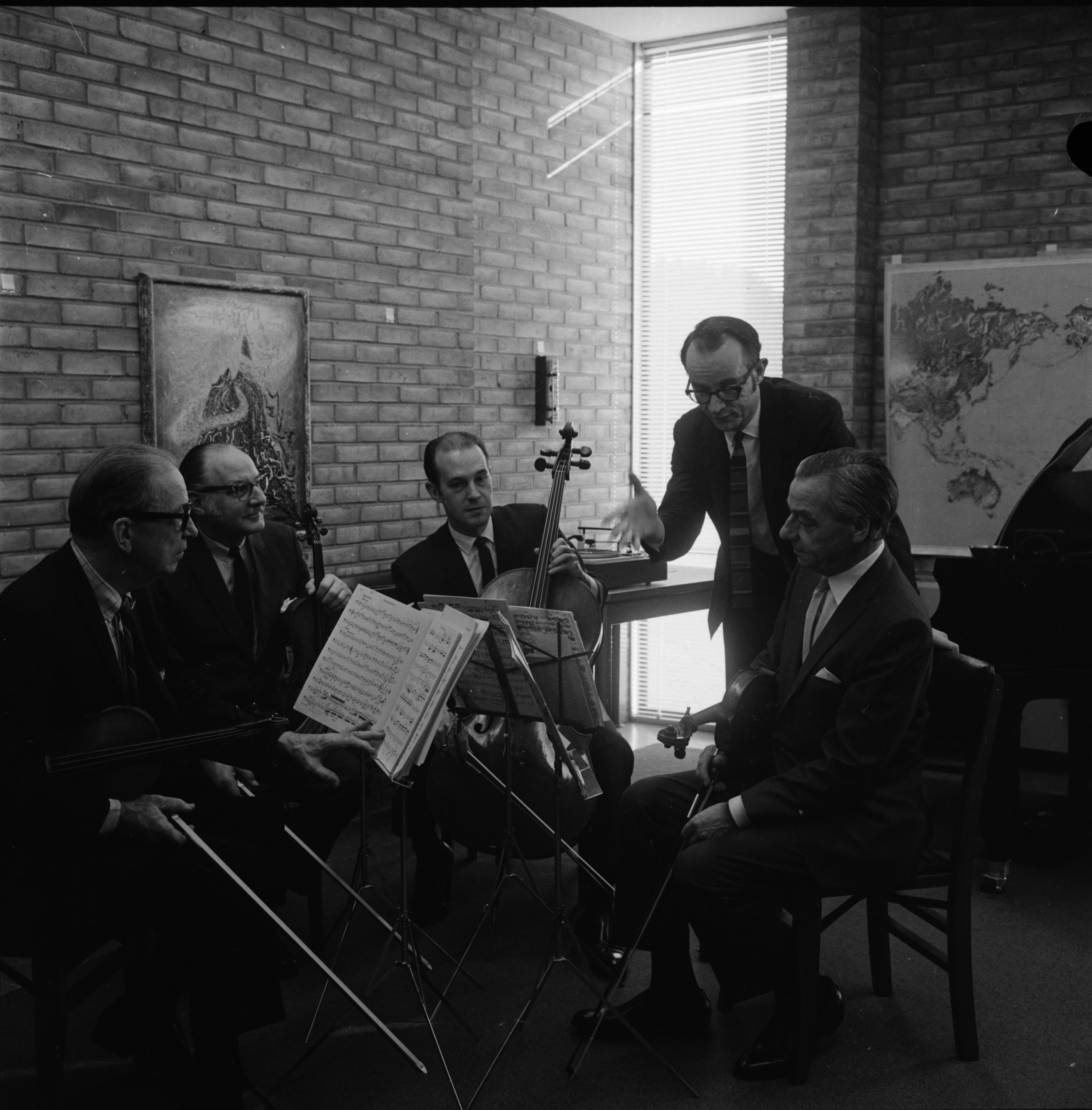 University of Michigan Stanley Quartet with composer and chairman of the U-M's music theory department, Wallace Berry (standing), February 1969 image