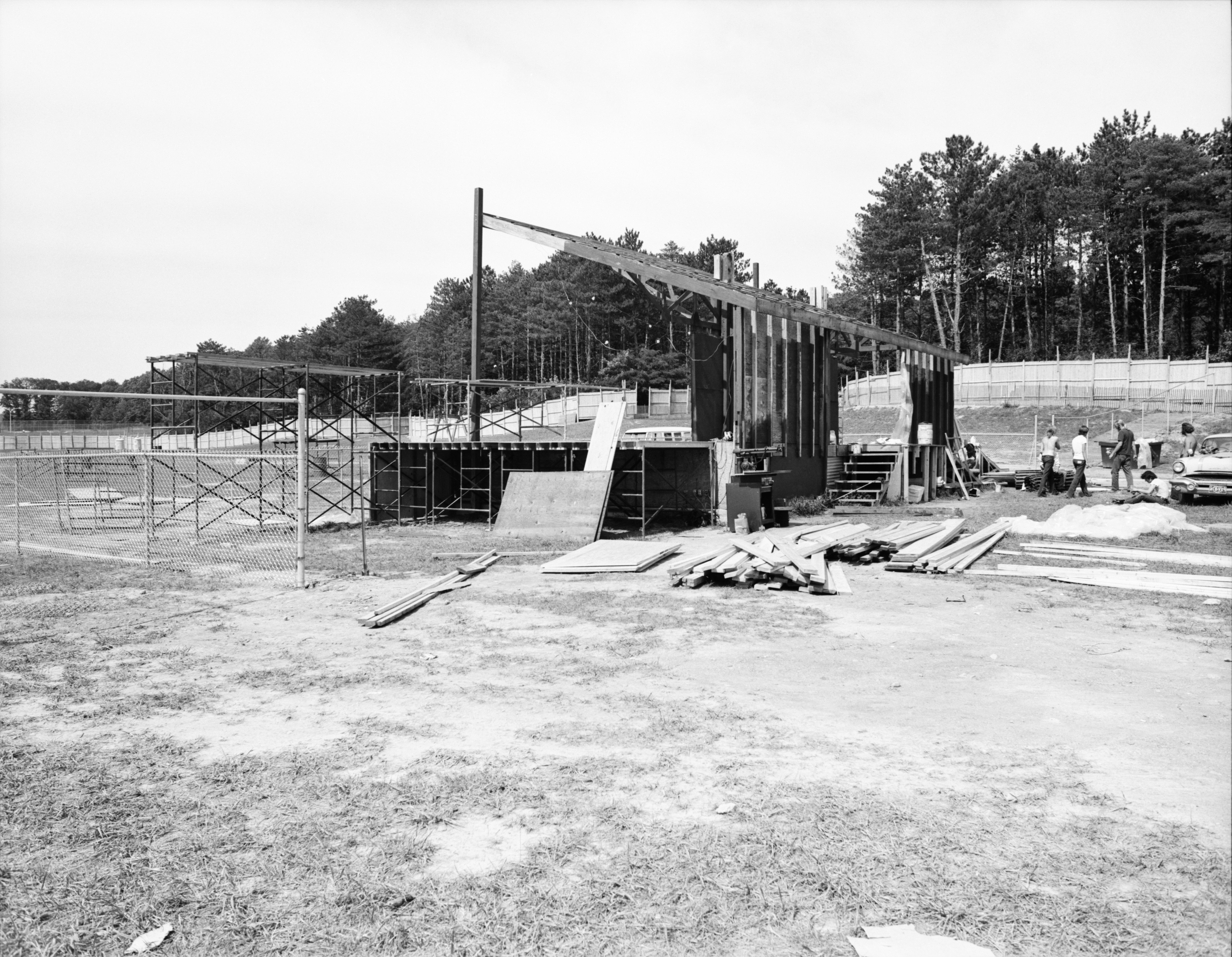 Workers Completing Bandstand Construction for 1972 Ann Arbor Blues & Jazz Festival image