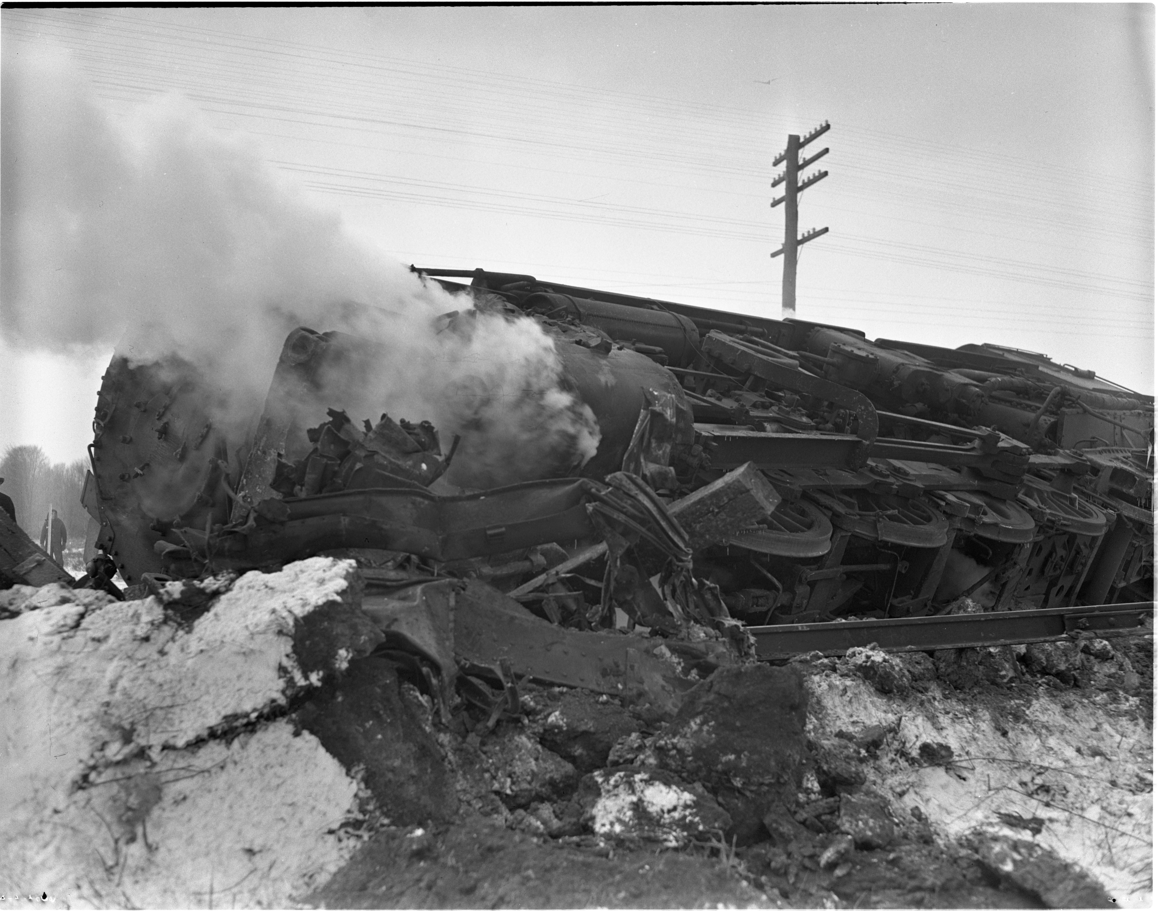 Wreckage After Trains Collide Near Ravenna Arsenal In Ohio, March 1941 image