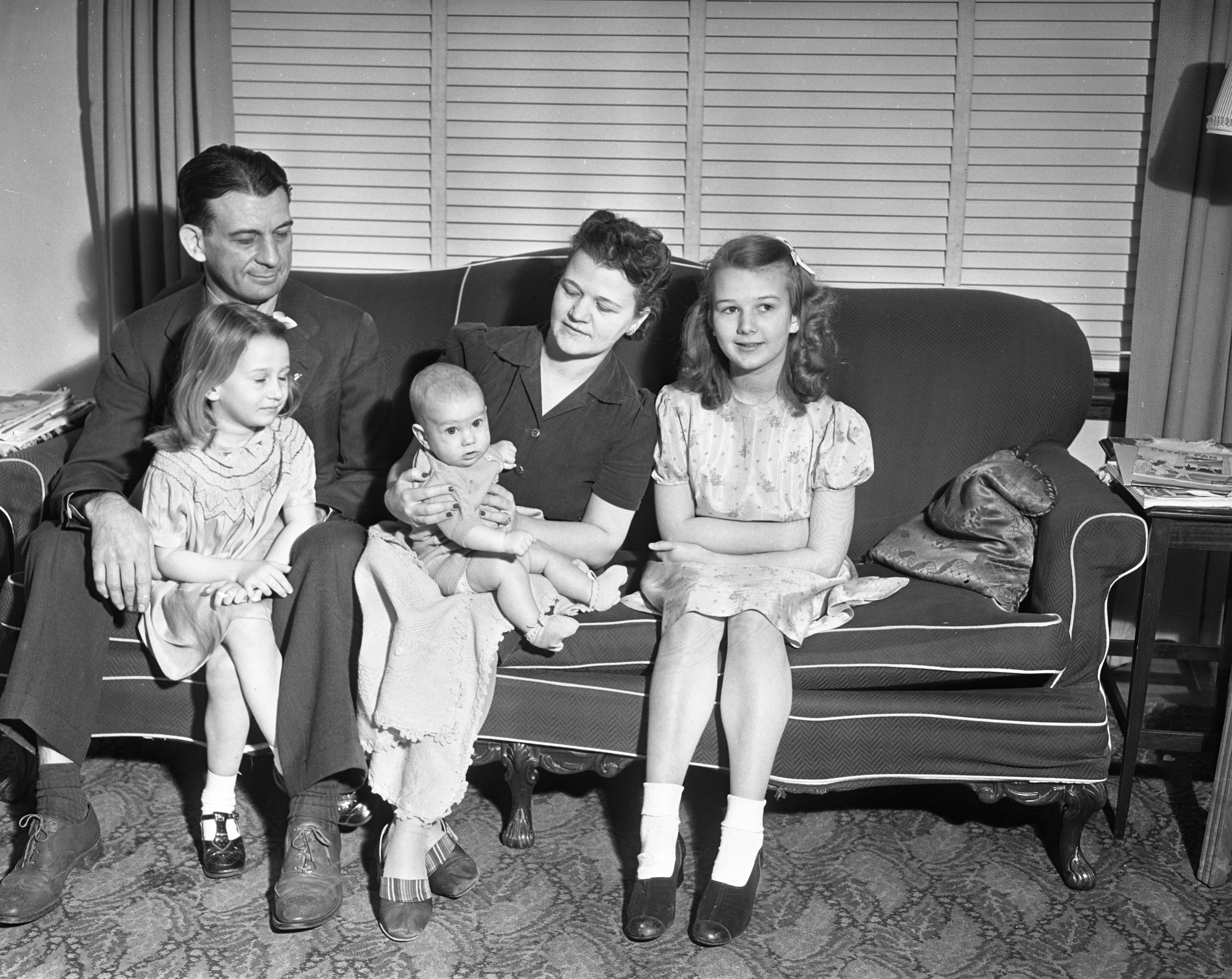 Cliff Keen family with new baby, Jimmy, February 1942 image
