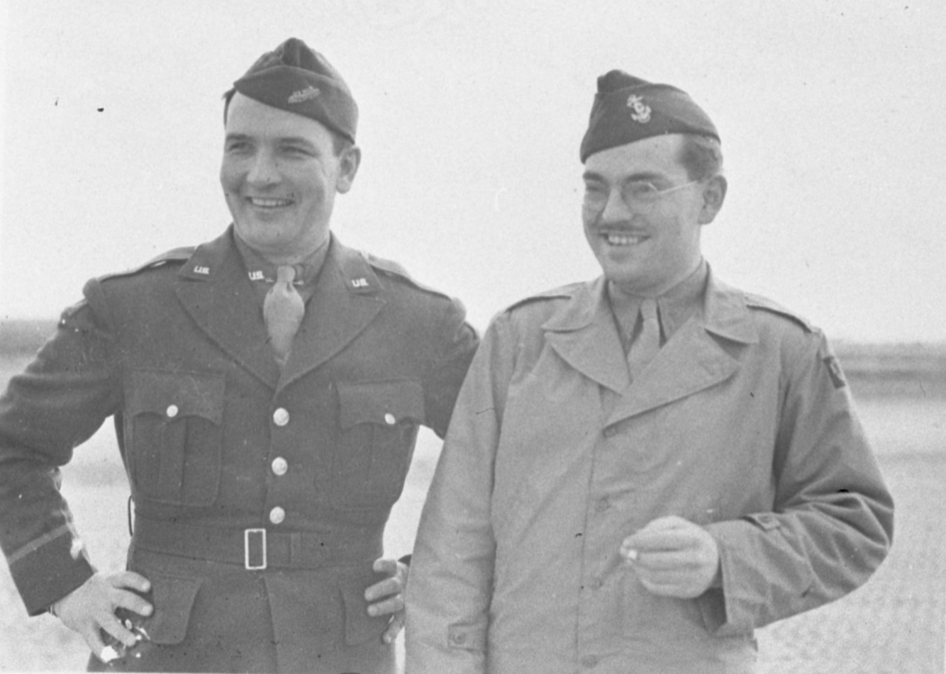 "United Press European War correspondent Clinton Beach ""Pat"" Conger (right), April 1944 image"