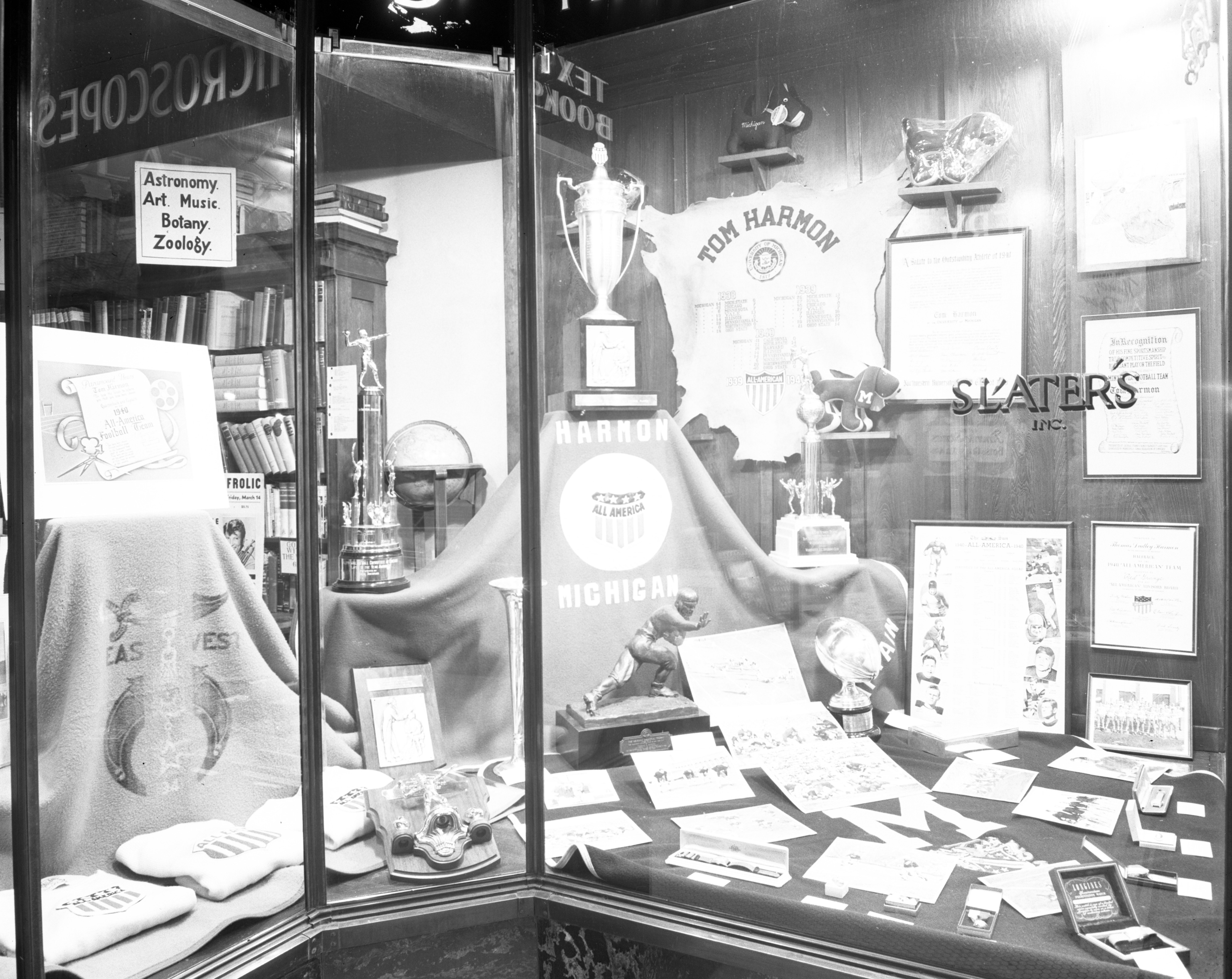 Tom Harmon Tribute Window at Slater's Books In Nickels Arcade, Undated image
