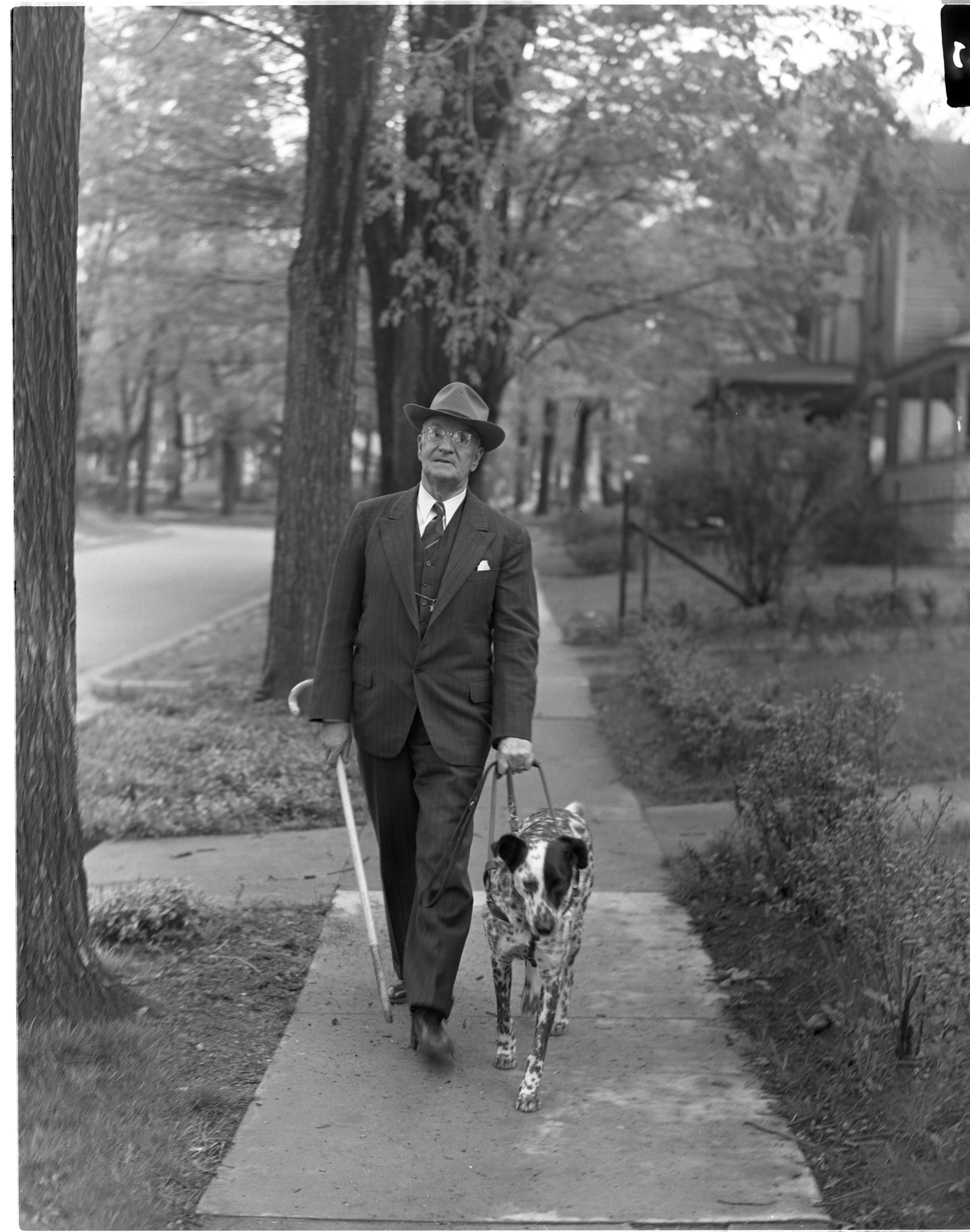 Image from Charles W. Spooner Strolls Down Elm Street With Spot, His Lions Club Sponsored Leader Dog, May 1946