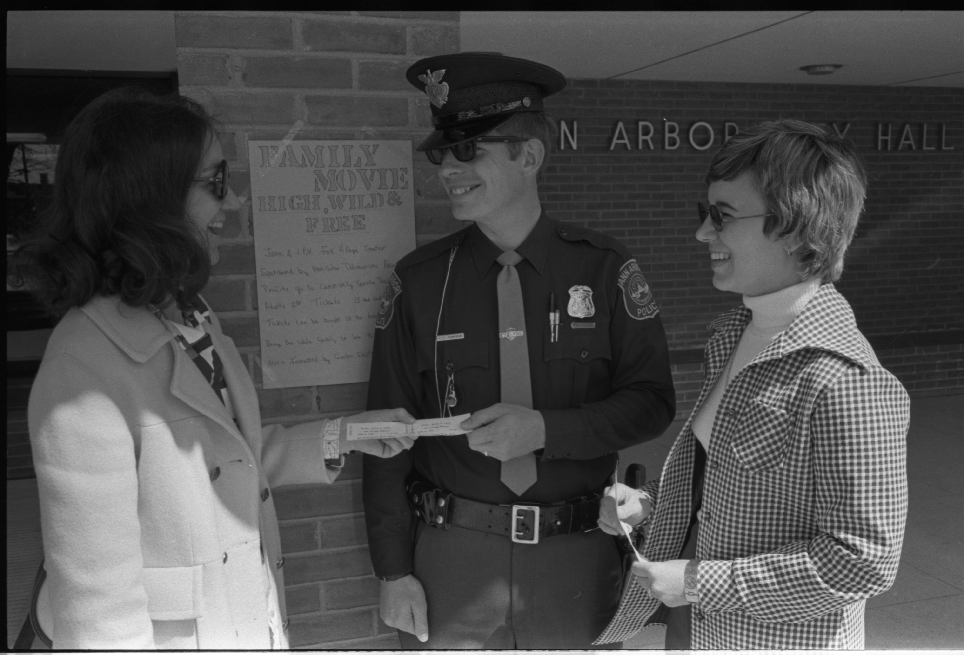 Ann Arbor Police Wives Association Sells Movie Tickets to Patrolman Harry Jinkerson, May 1974 image