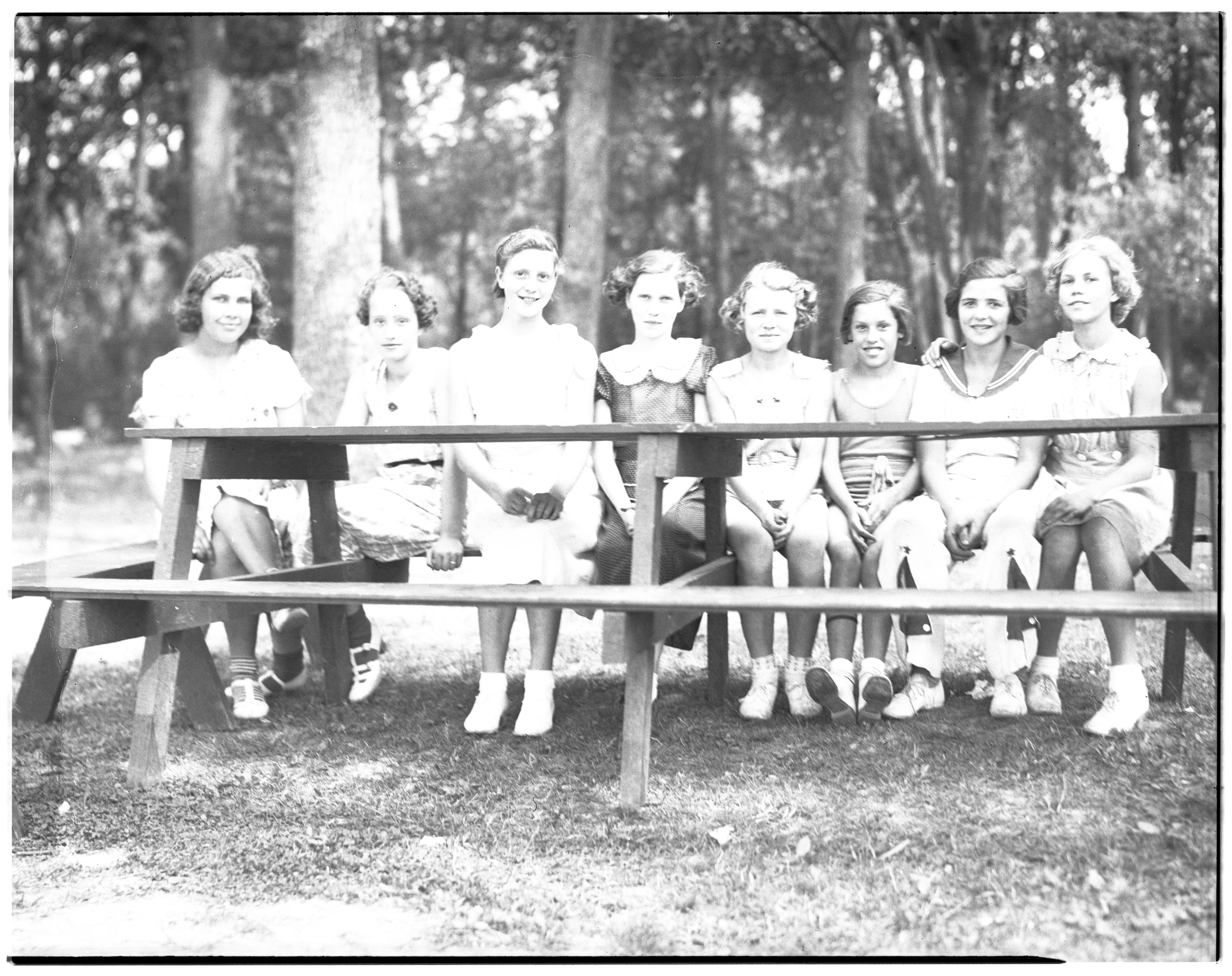 Girls at the 4-H Club-Kiwanis Picnic, 1936 image