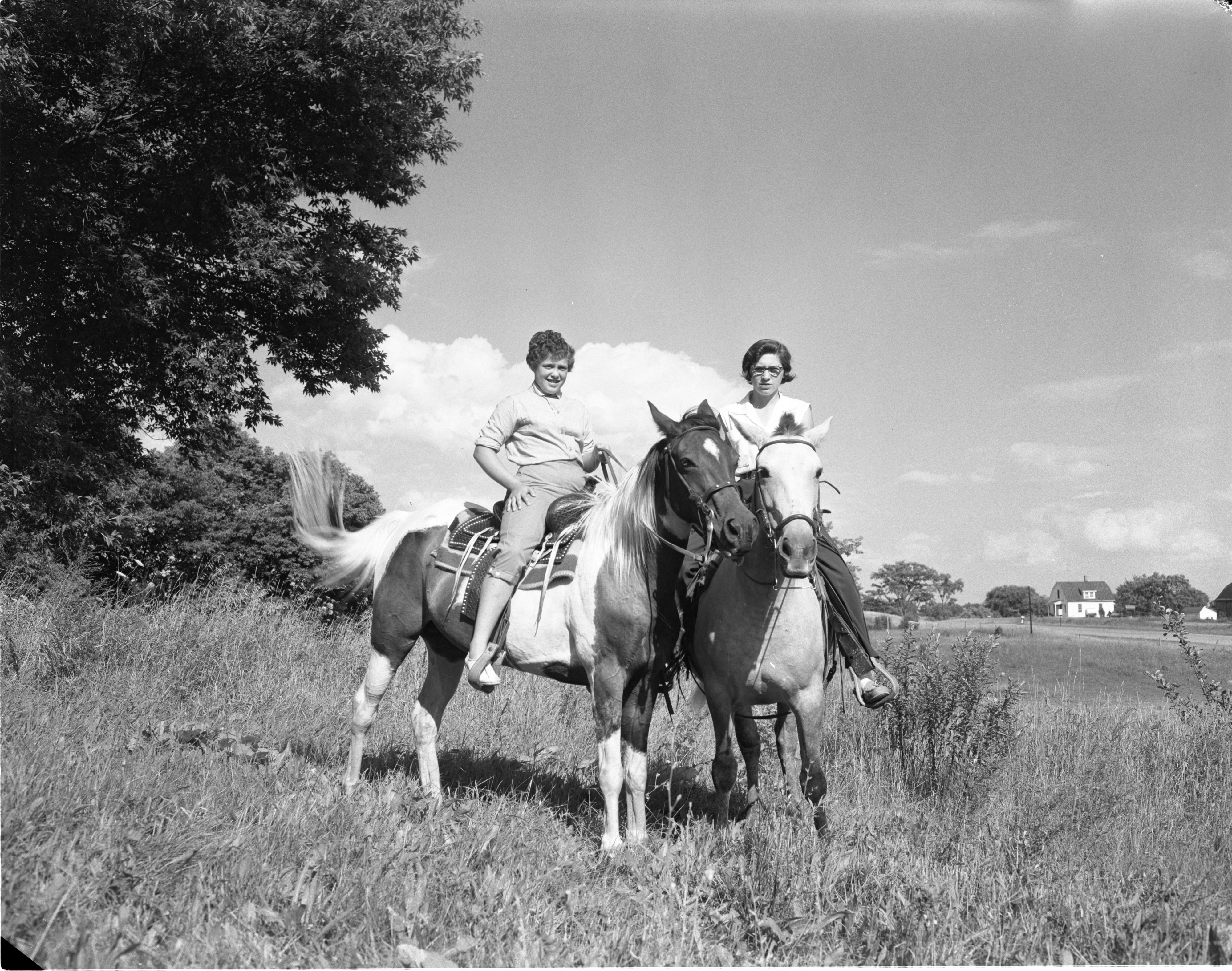 Sisters, Joanne & Bonnie Yarger, On Horseback, August 1956 image