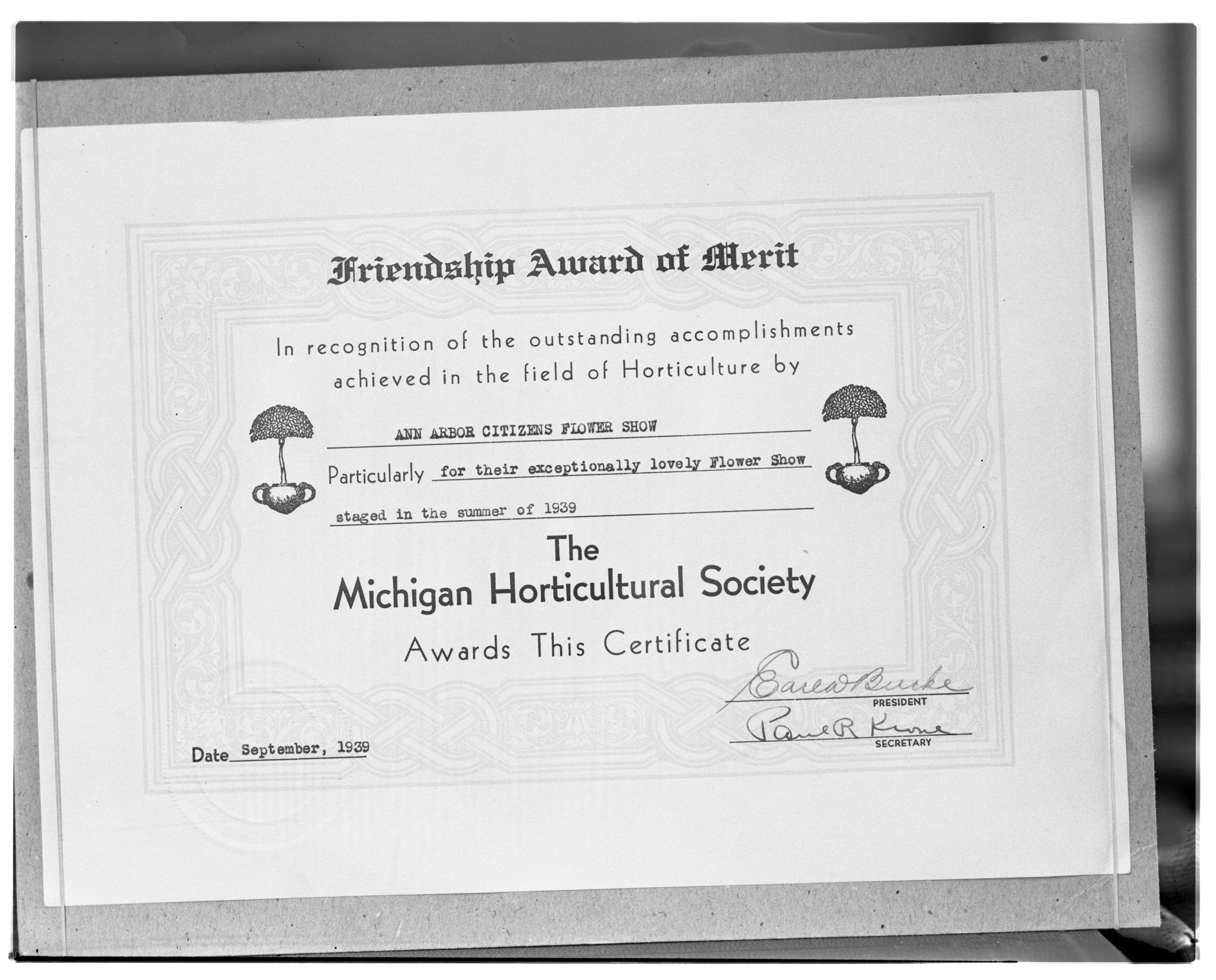 Michigan Horticulture Society Friendship Award Certificate to the Ann Arbor Flower Show image