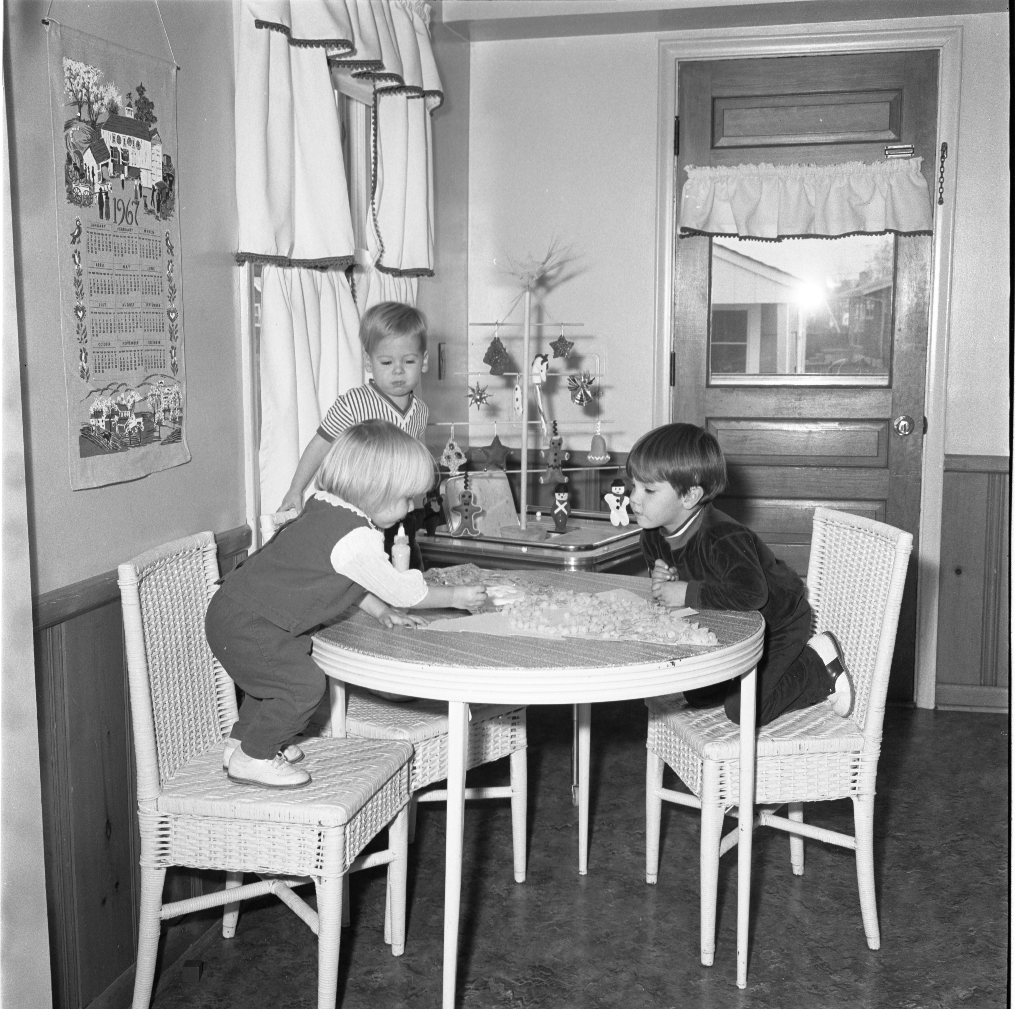 Tricia McNaughton, Andrew Hartzell, & Jamie McNaughton Make Christmas Decorations, November 1967 image