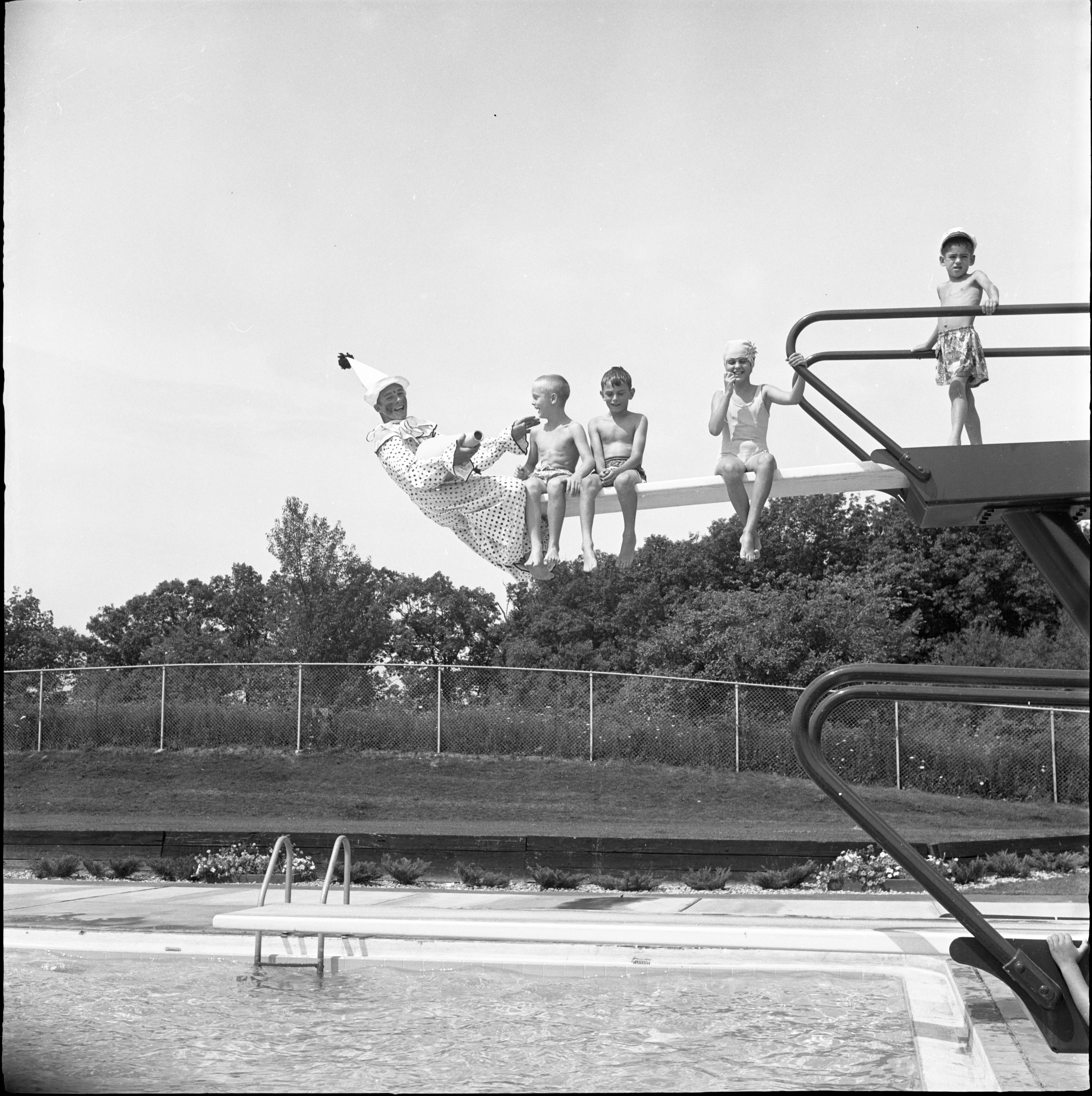 Jo Jo The Clown Entertains At The Chippewa Hills Swimming Club Water Circus, July 1962 image