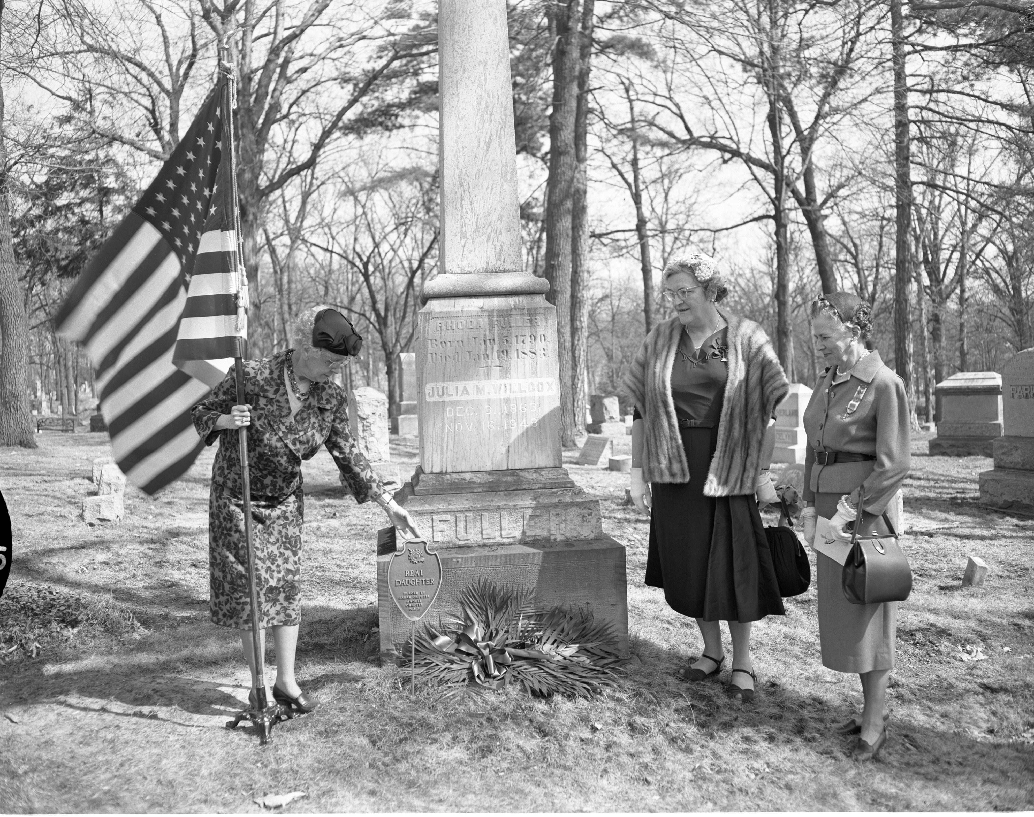 DAR Women Place Marker On Grave Of Mrs. Rhoda Fuller, April 1959 image