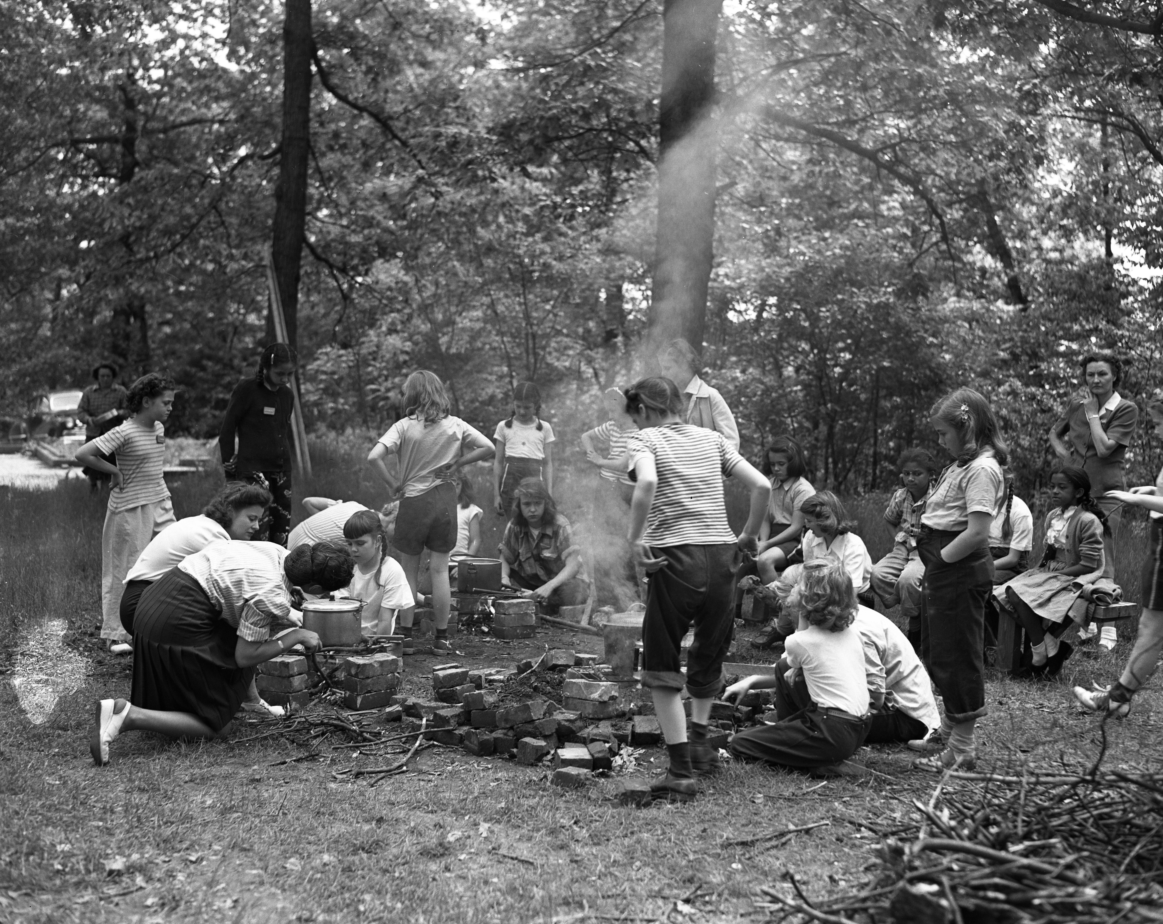 Girl Scout Cook Out at Newly-Acquired Camp Hilltop, June 1947 image