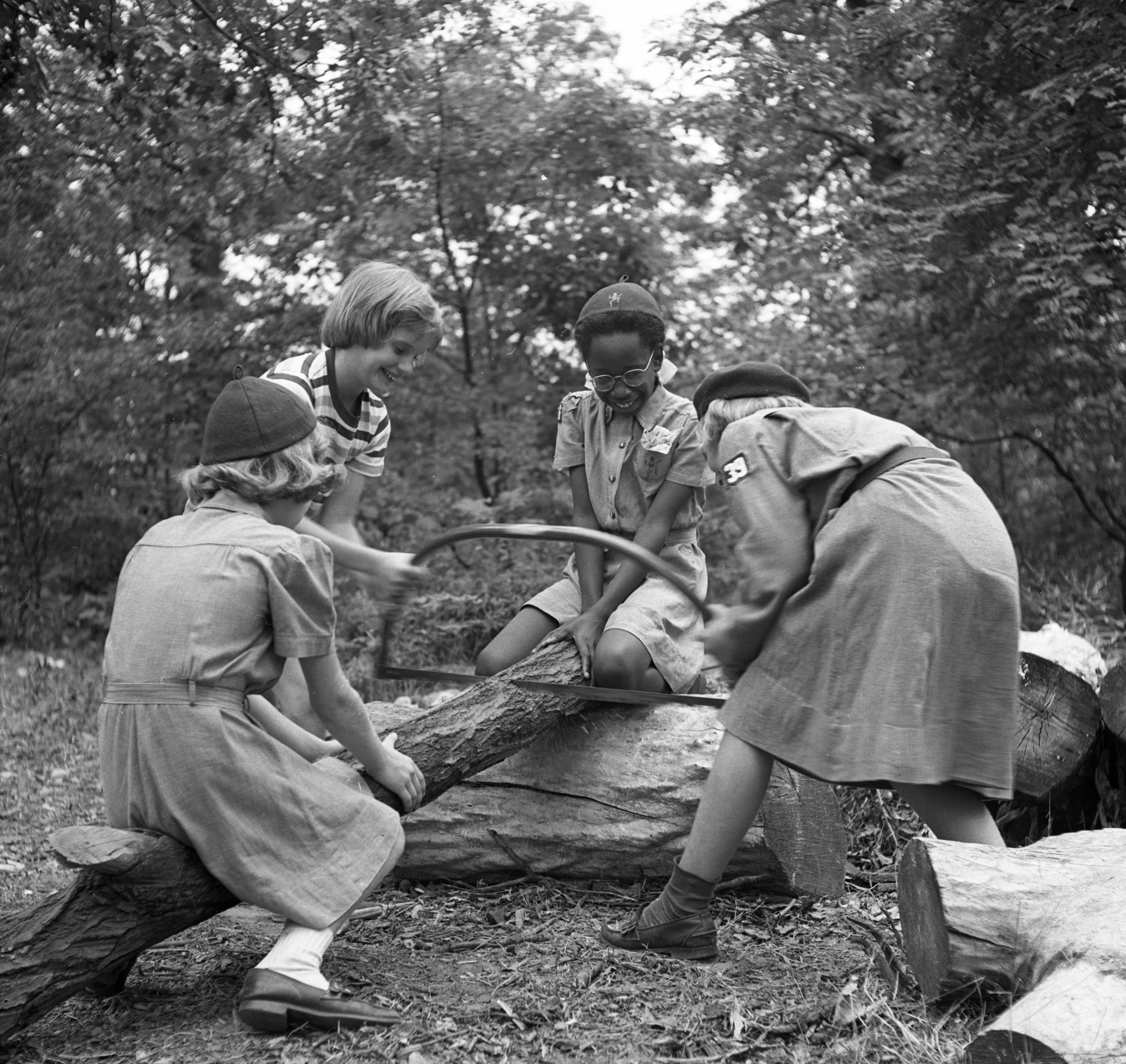 Girl Scouts Work on the Woodpile at  Camp Hilltop, August 1951 image