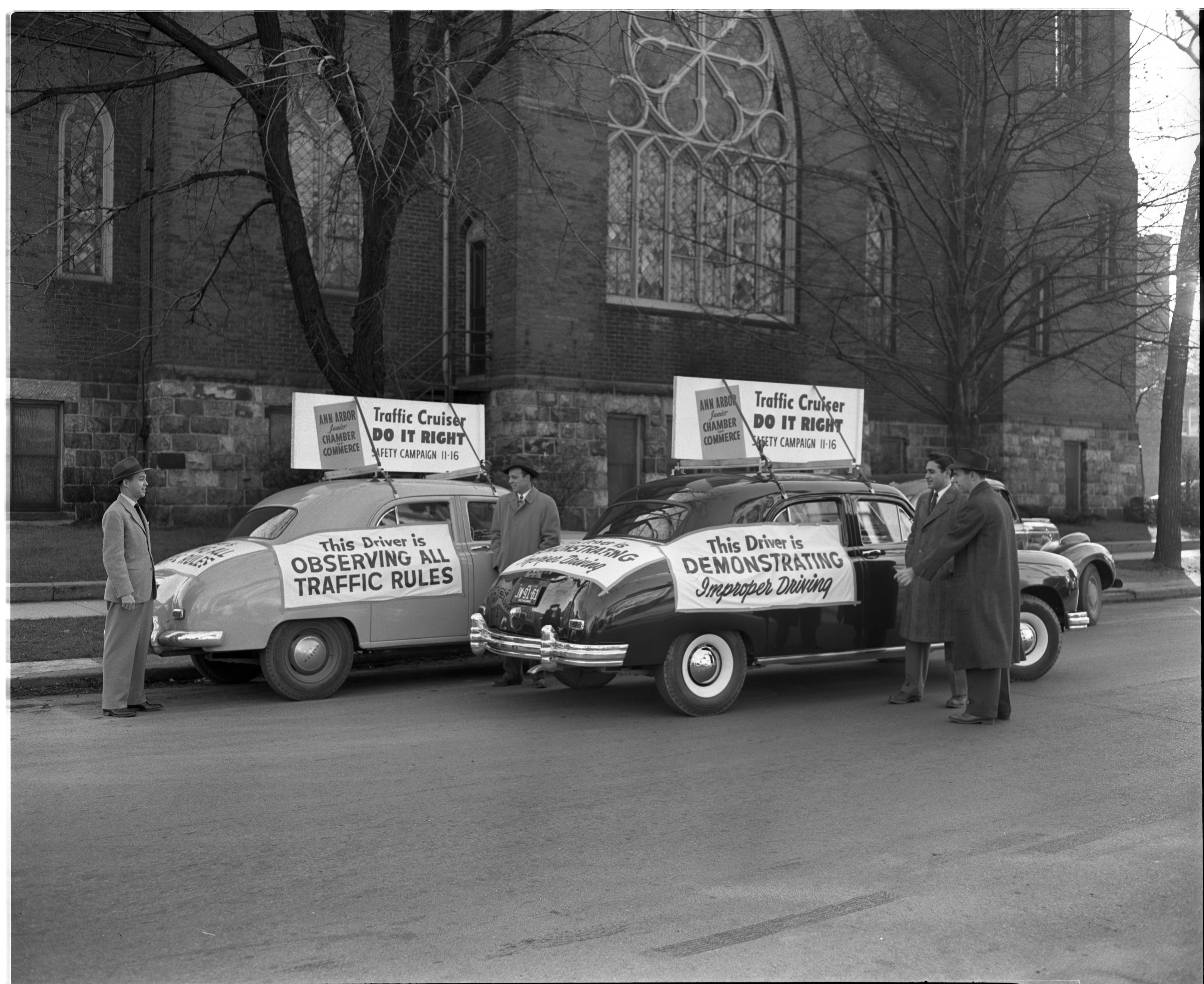 """Good"" and ""Bad"" cars in Ann Arbor JCC's Traffic Safety Campaign, November 1946 image"