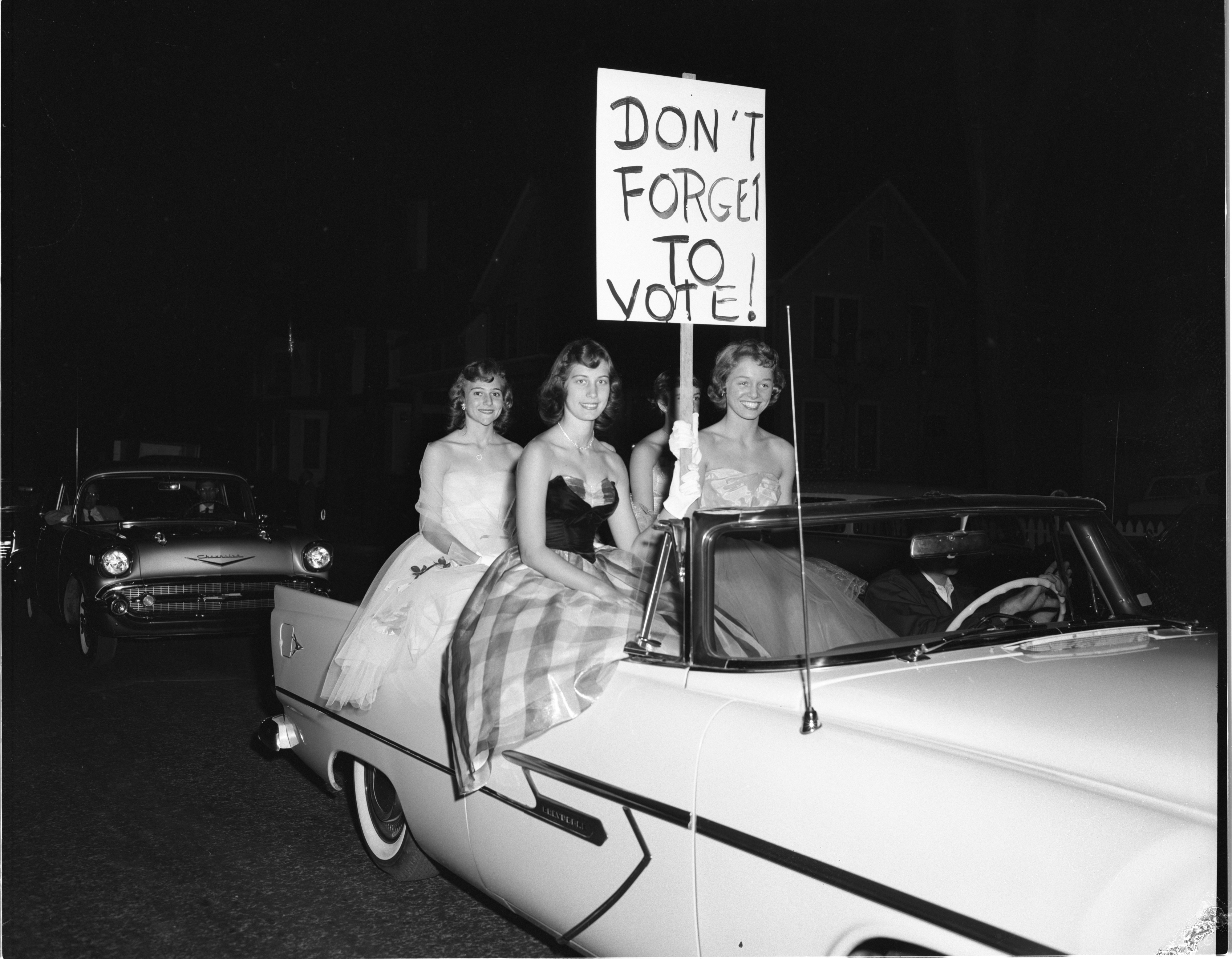 Members Of Ann Arbor High's Homecoming Court In The Get-Out-The-Vote Rally Parade, October 1956 image