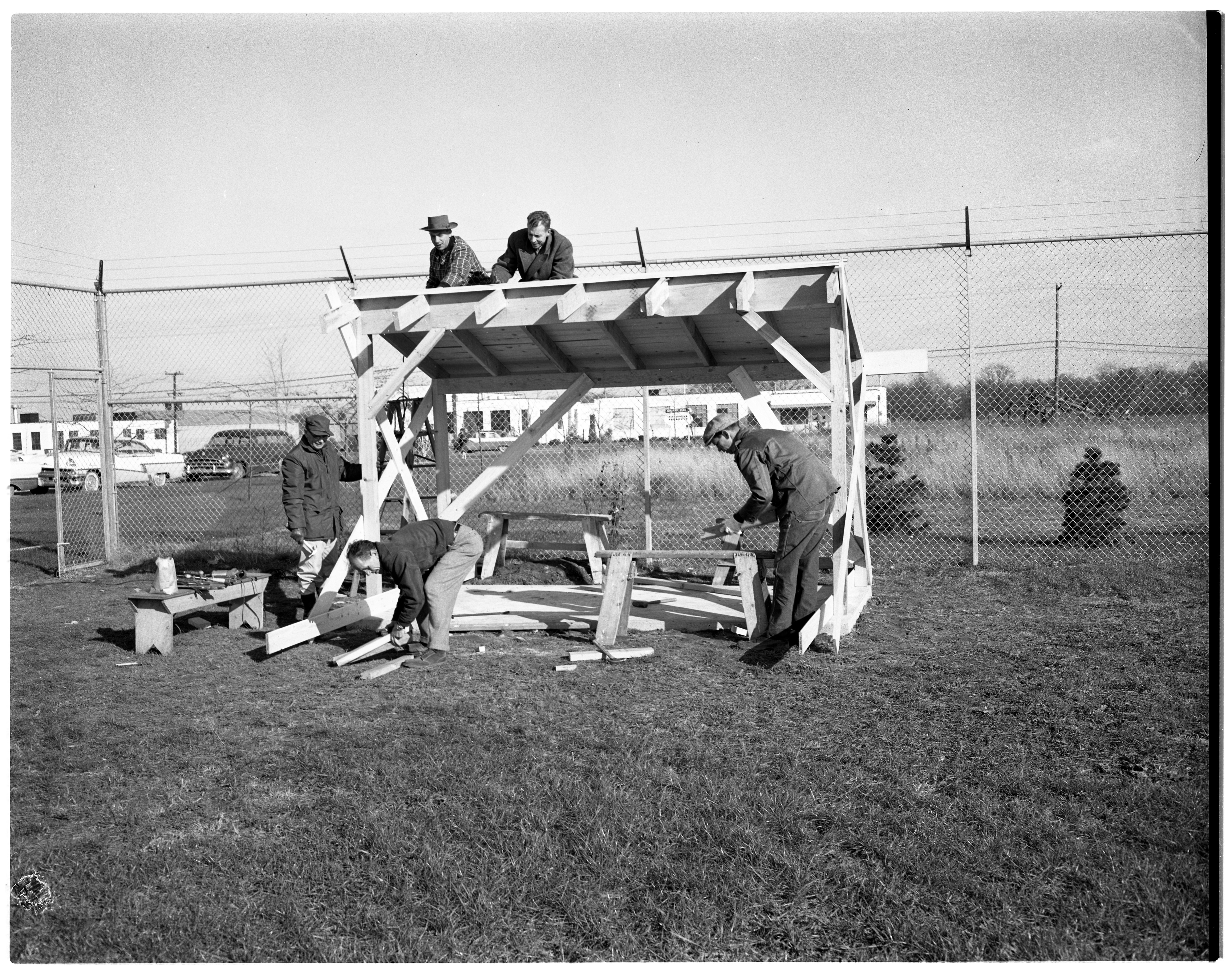 Kiwanis Club Members Build An Outdoor Play Shelter at Juvenile Home, November 1959 image