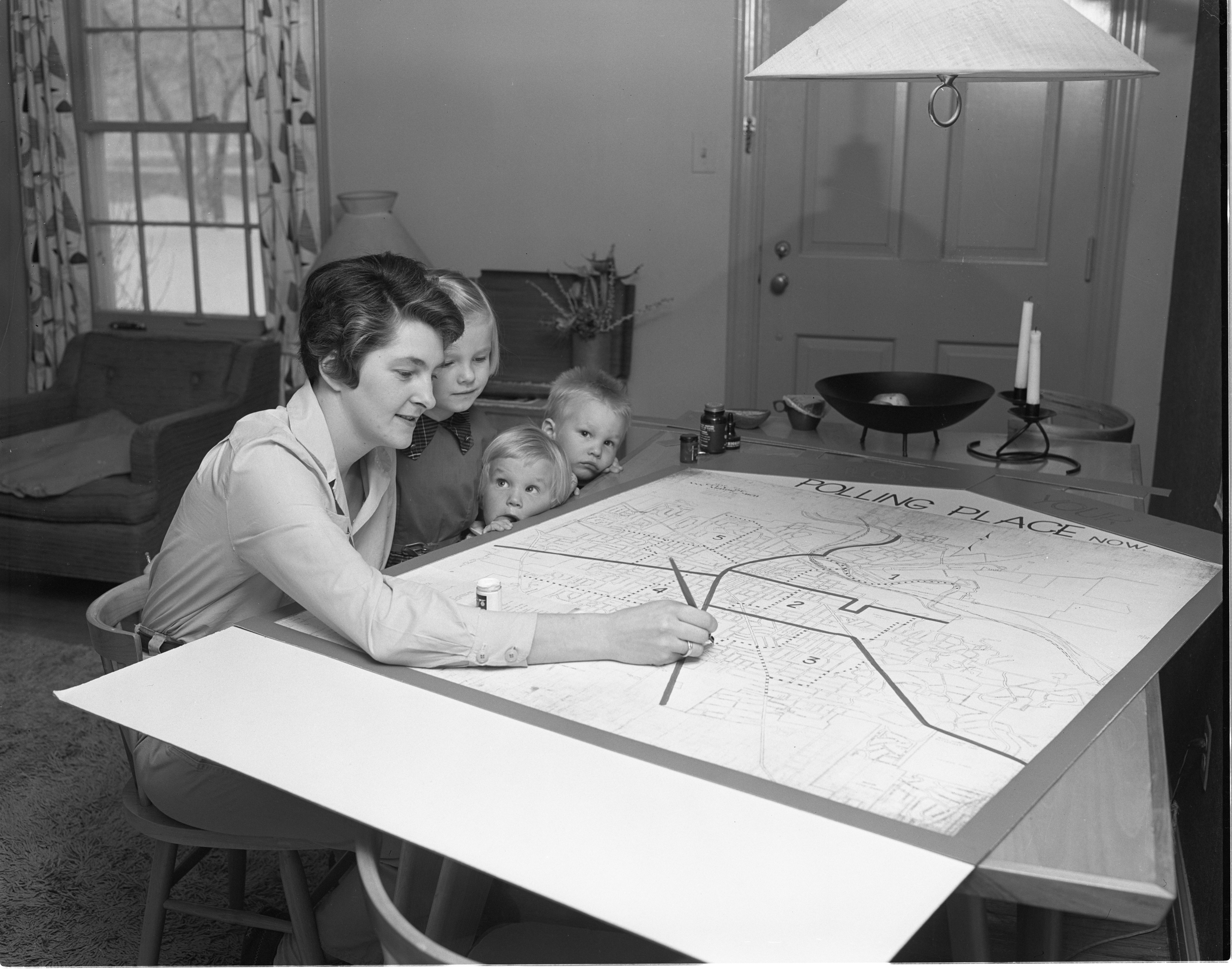 Olga Michelsen Makes A Map For The League Of Women Voters, March 1956 image