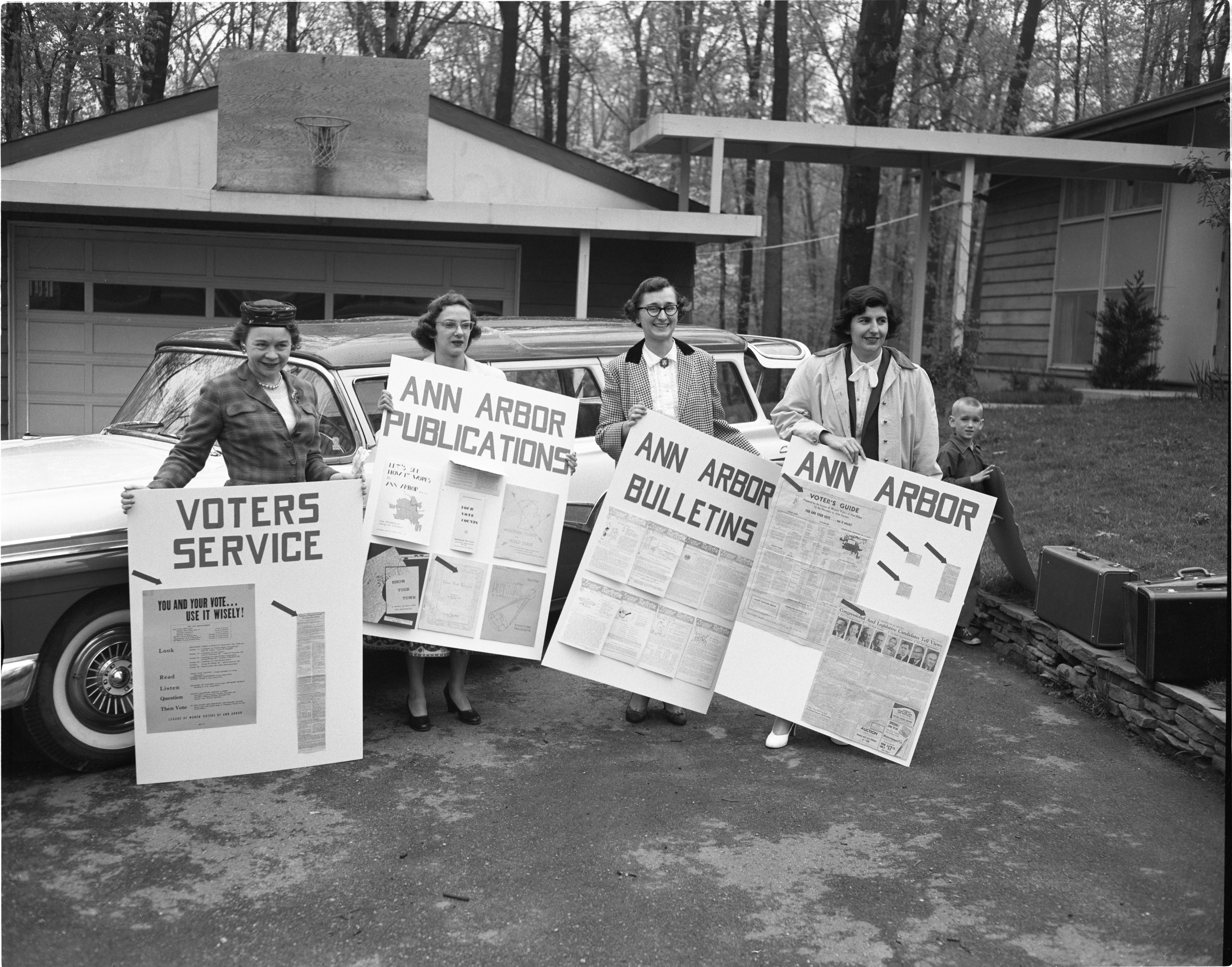 Ann Arbor League Of Women Voters Members & Their Posters For The State Convention, May 1957 image