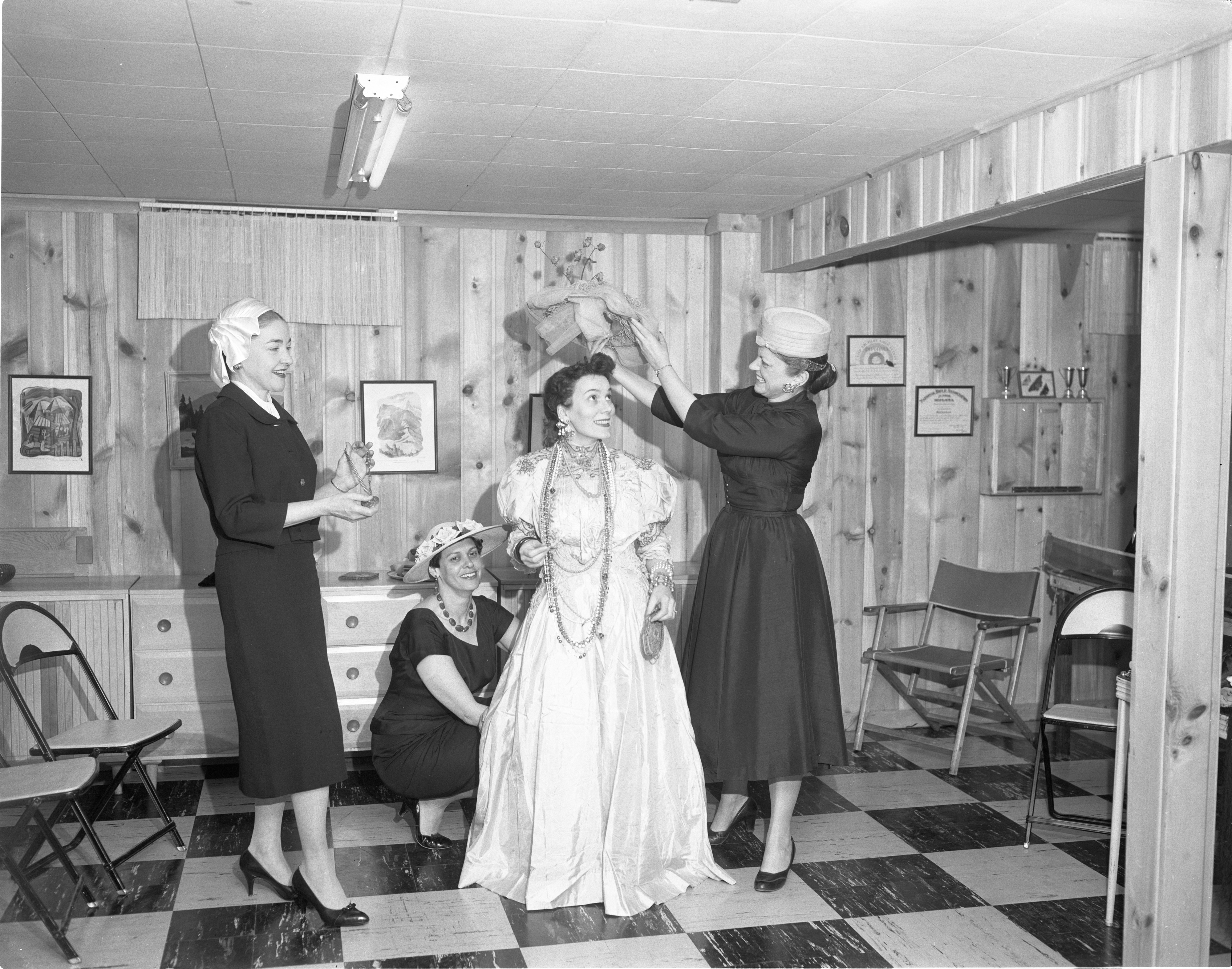 Ann Arbor League of Women Voters Members Rehearse A Skit, March 1958 image