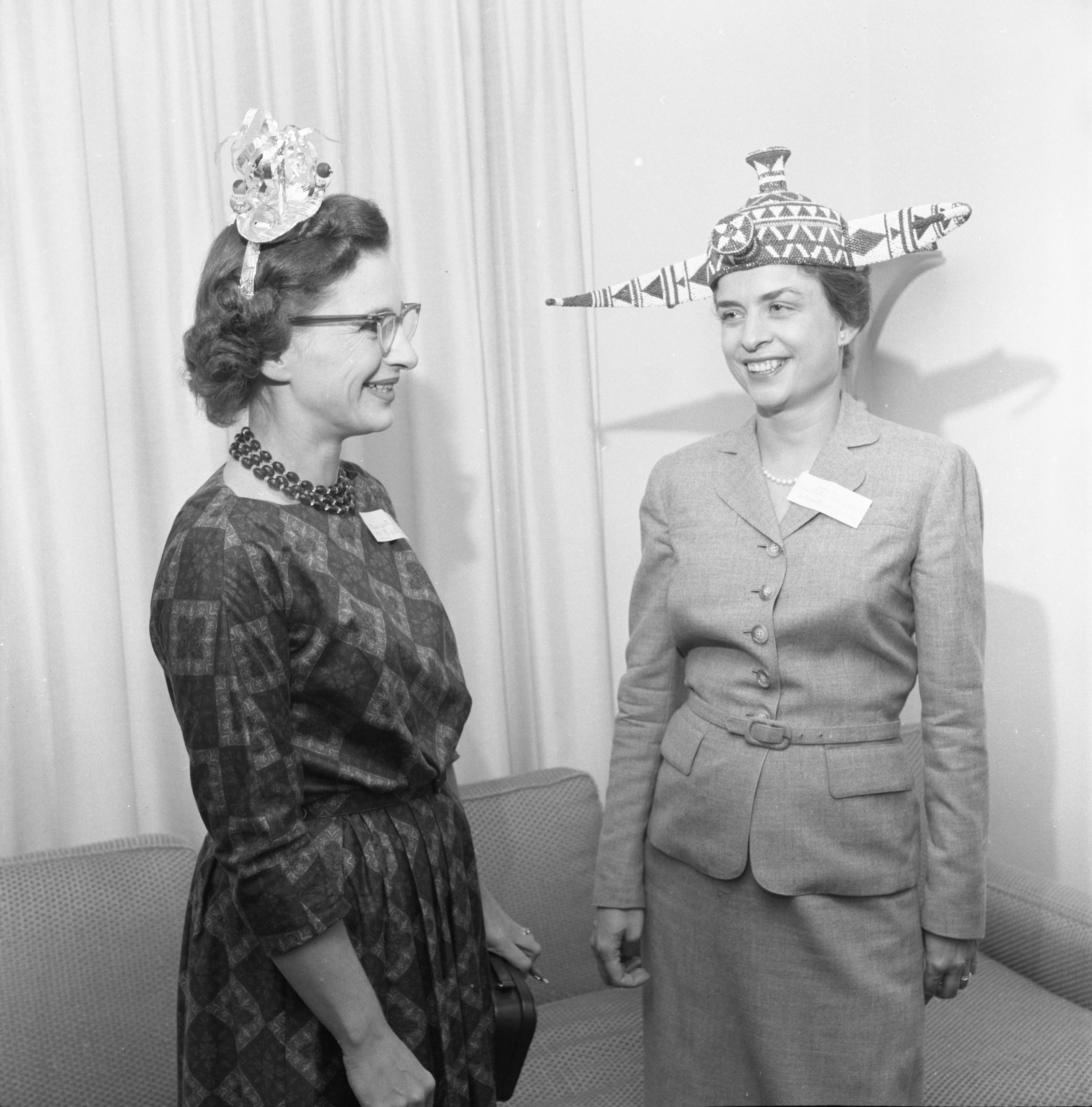 League Of Women Voters Wear Hats Related To Study Group Subjects, September 1959 image