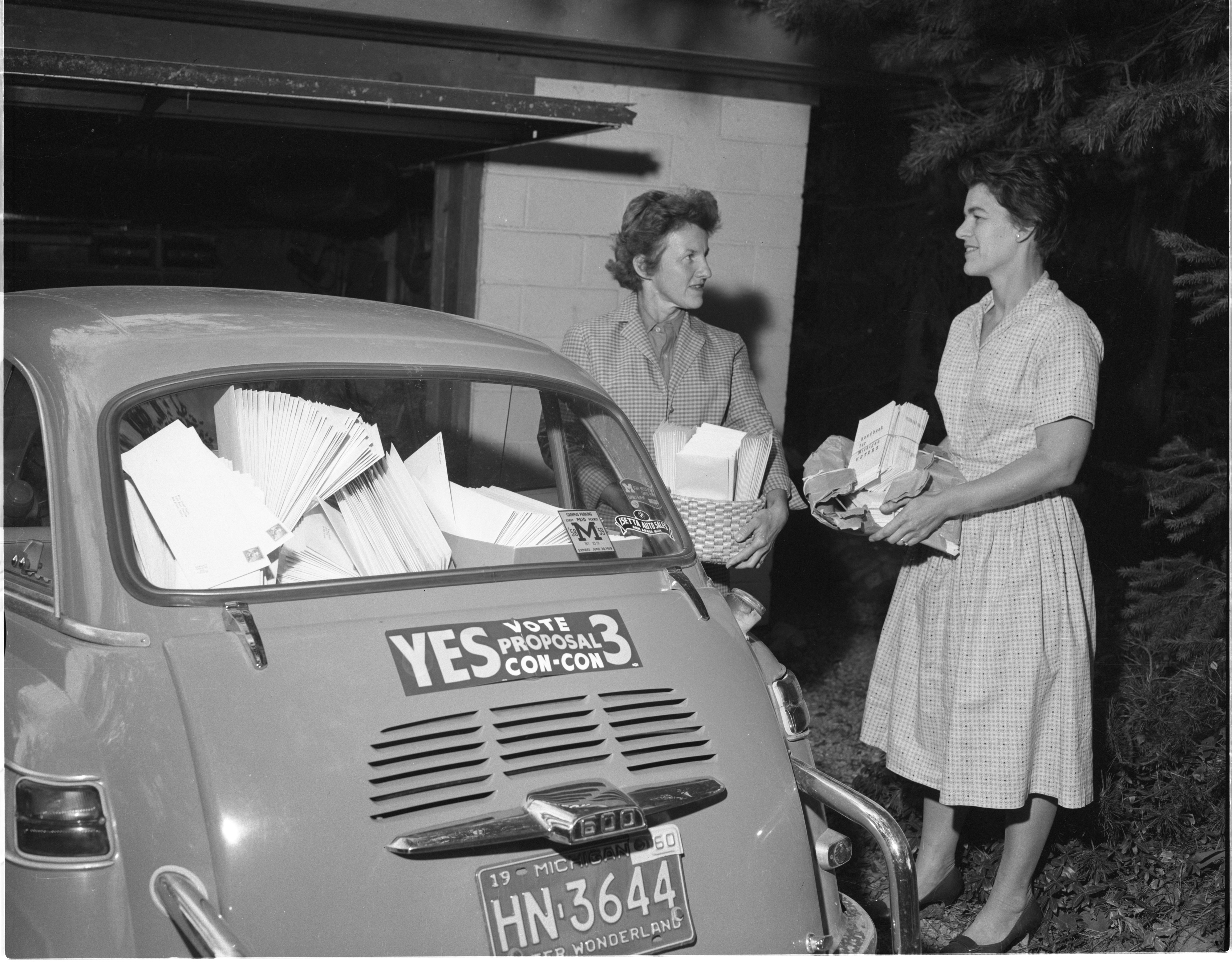 League Of Women Voters Members With Finance Campaign Letters Ready To Be Mailed, September 1960 image