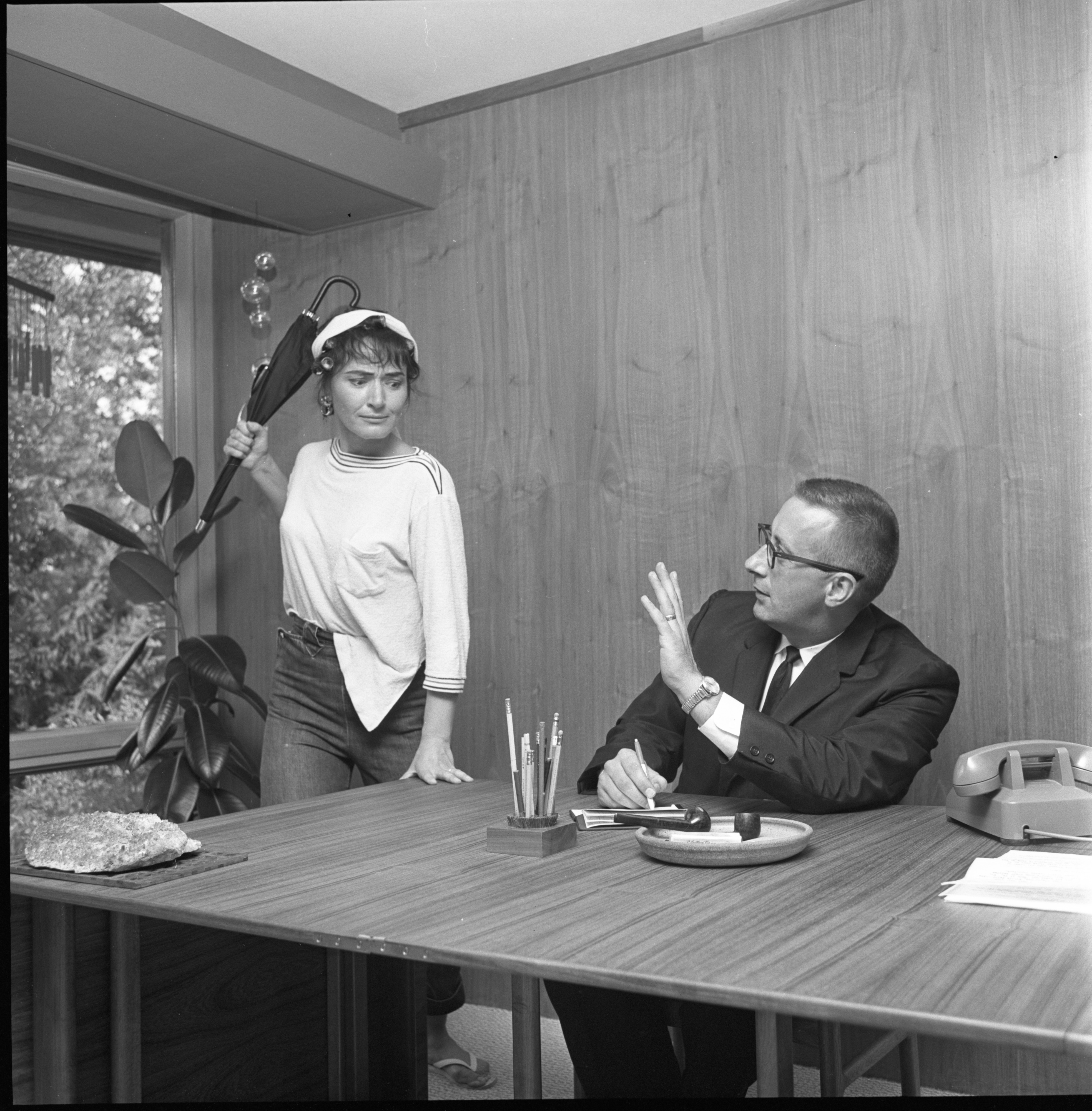"Adelaide Suits Rehearses Her Scene With Richard Cutler For The League Of Women Voters ""How-Not-To-Do-It"" Finance Drive Presentation, September 1961 image"