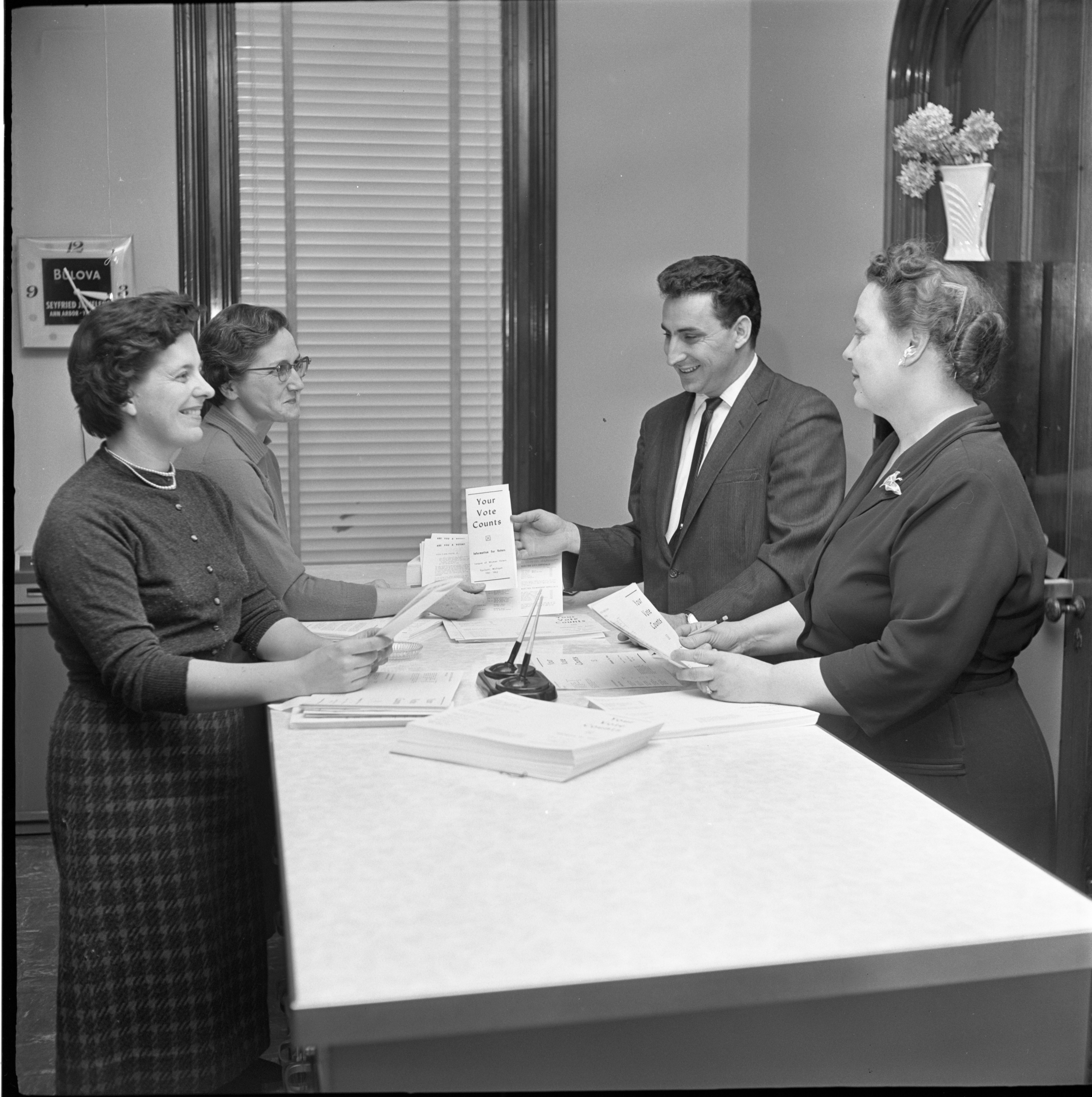 Ypsilanti League Of Women Voters Distribute Voter Information Guides, January 1962 image
