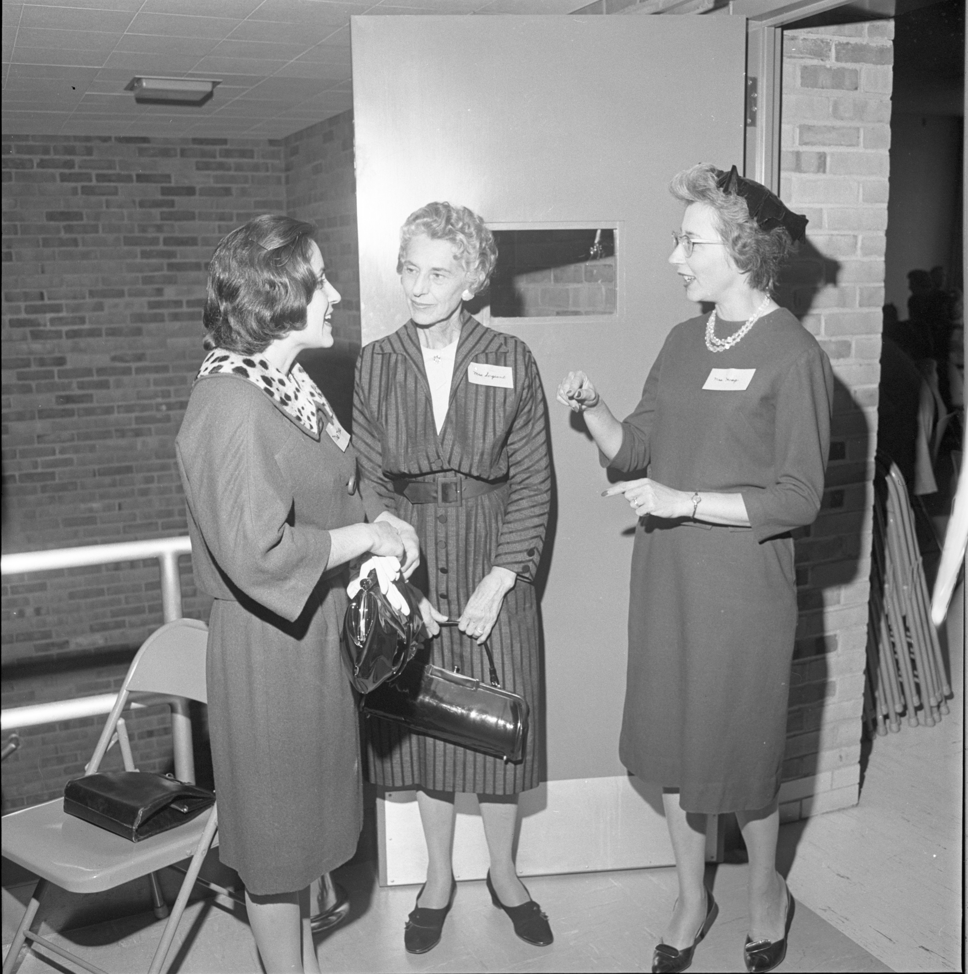 Guests Are Greeted At The League Of Women Voters Annual Membership Dessert, September 1962 image