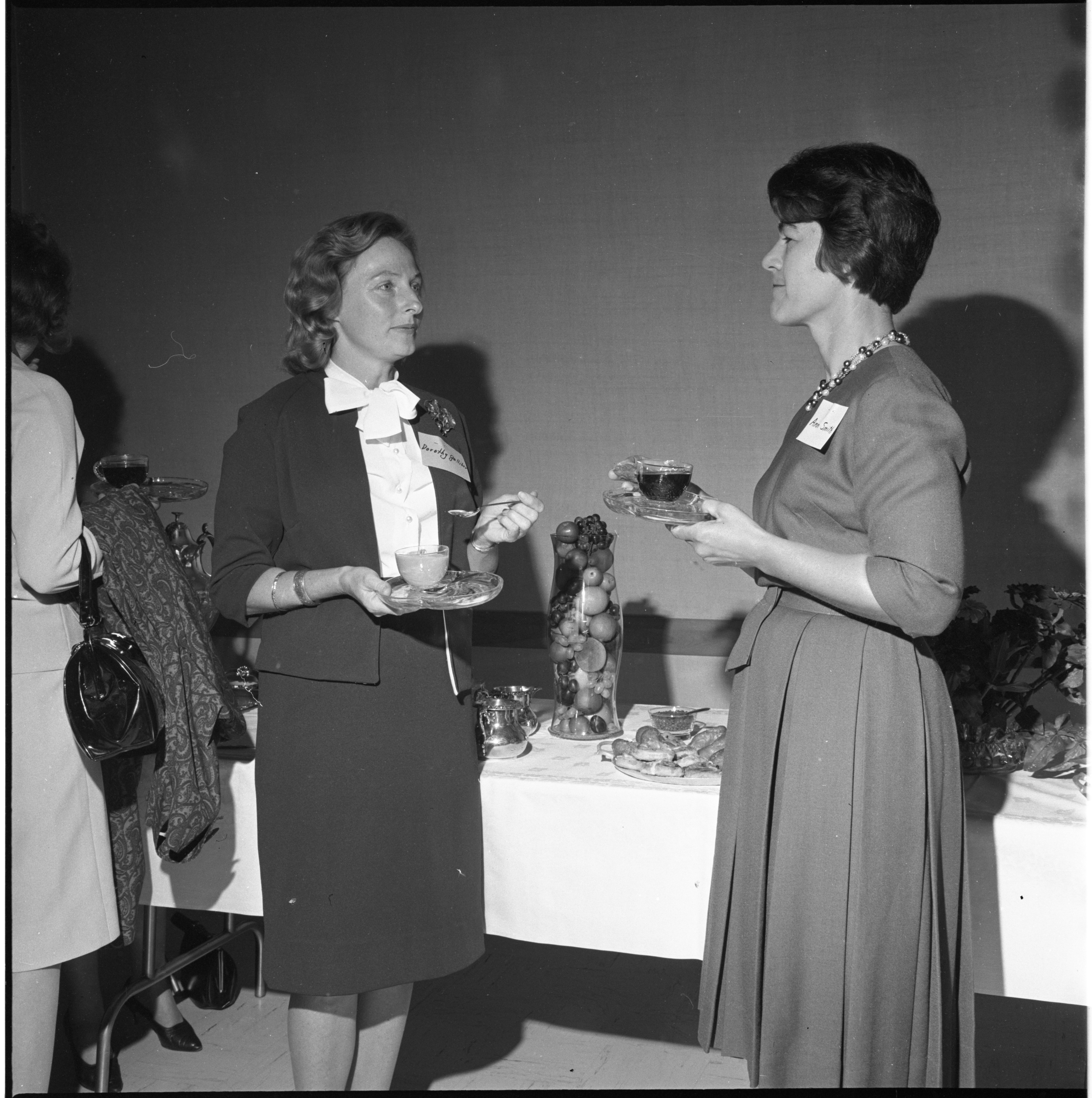 Ann Smith Welcomes Dorothy Galliher To Coffee With The League Of Women Voters, September 1963 image