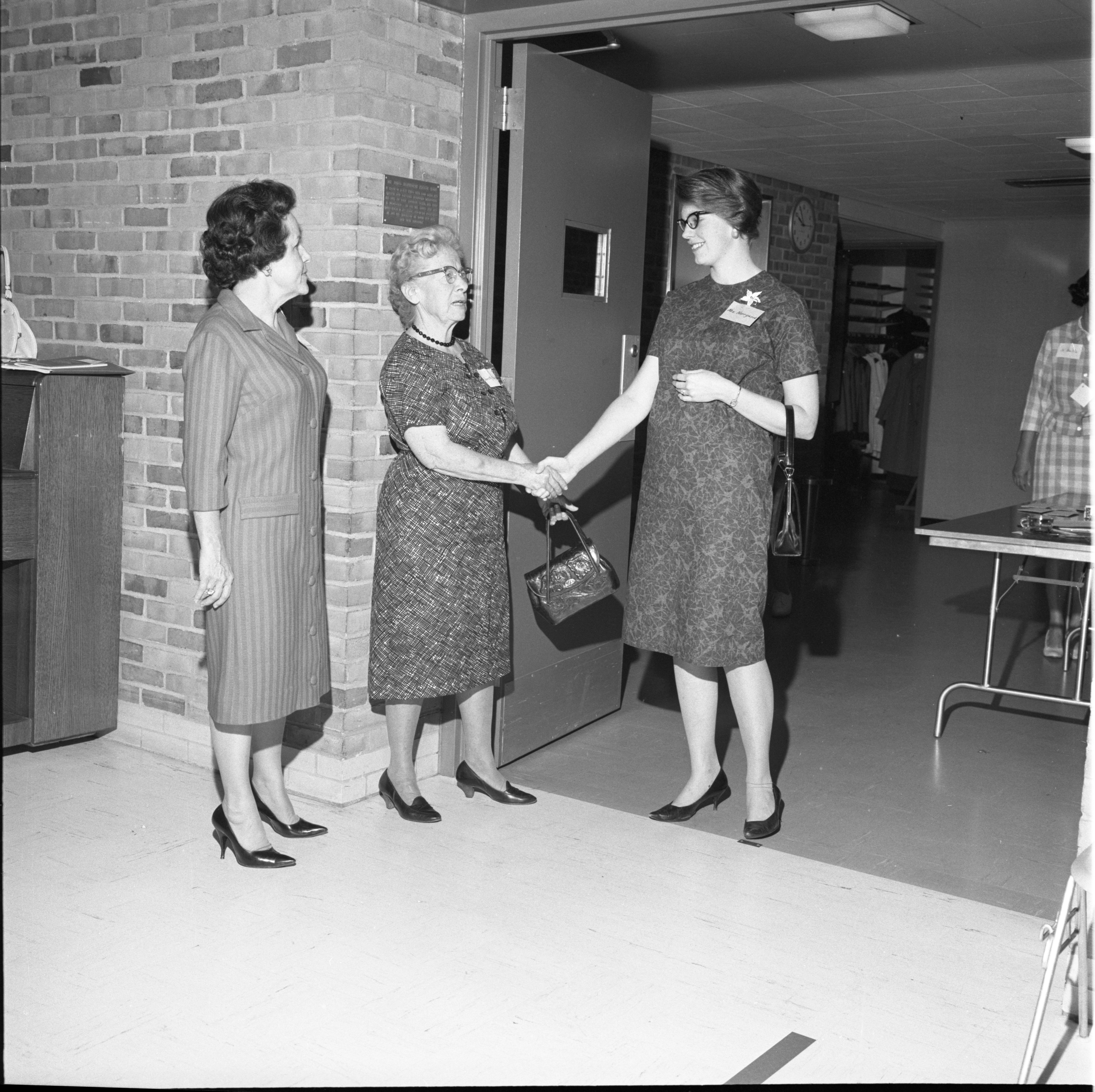 Dorothy Buckley Welcomes Mrs. Norrgard To Coffee With The League Of Women Voters, September 1963 image