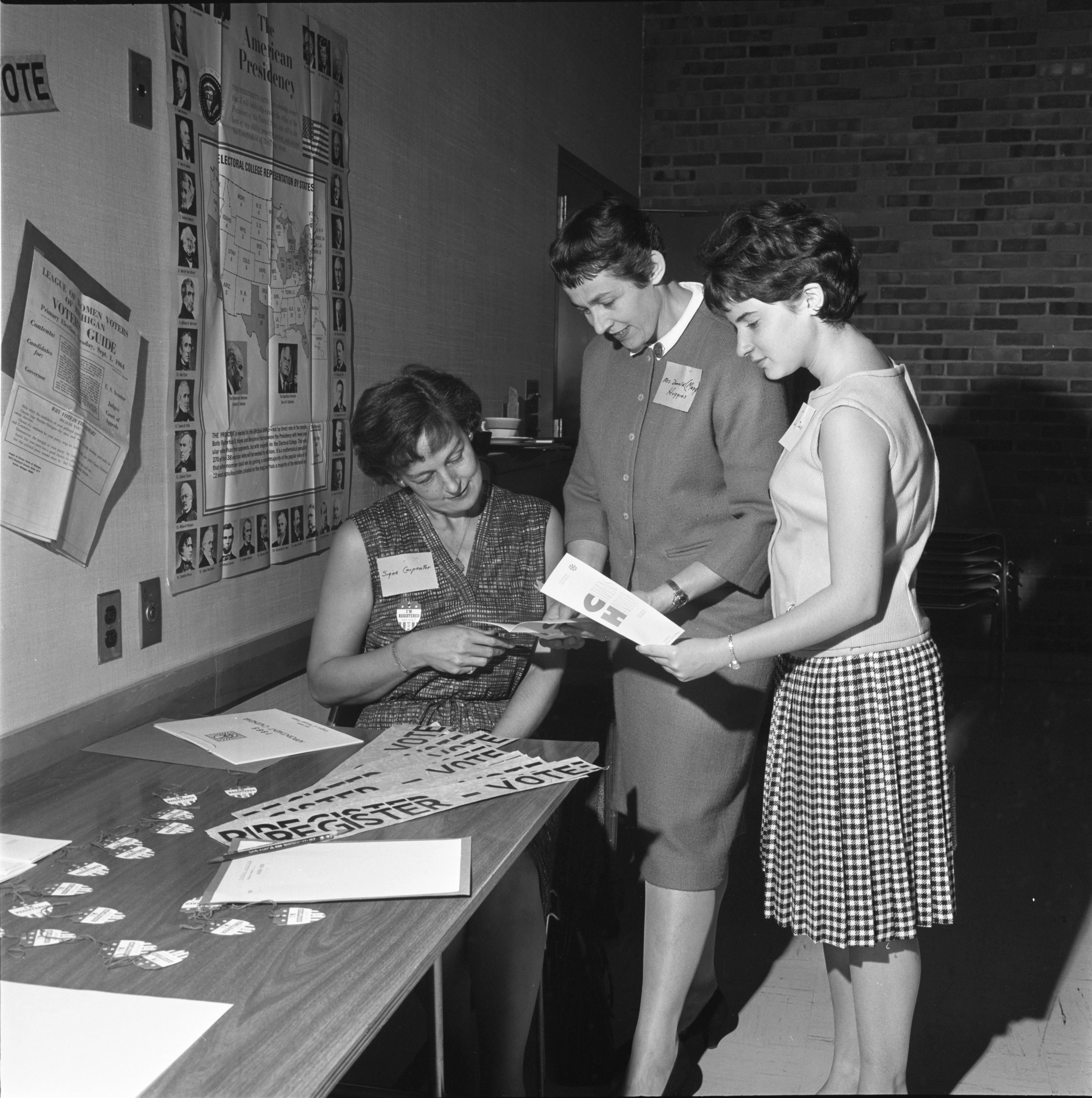 Signe Carpenter, Mary Huggins, & Liz Soss At The League Of Women Voters Annual Meeting, September 1964 image