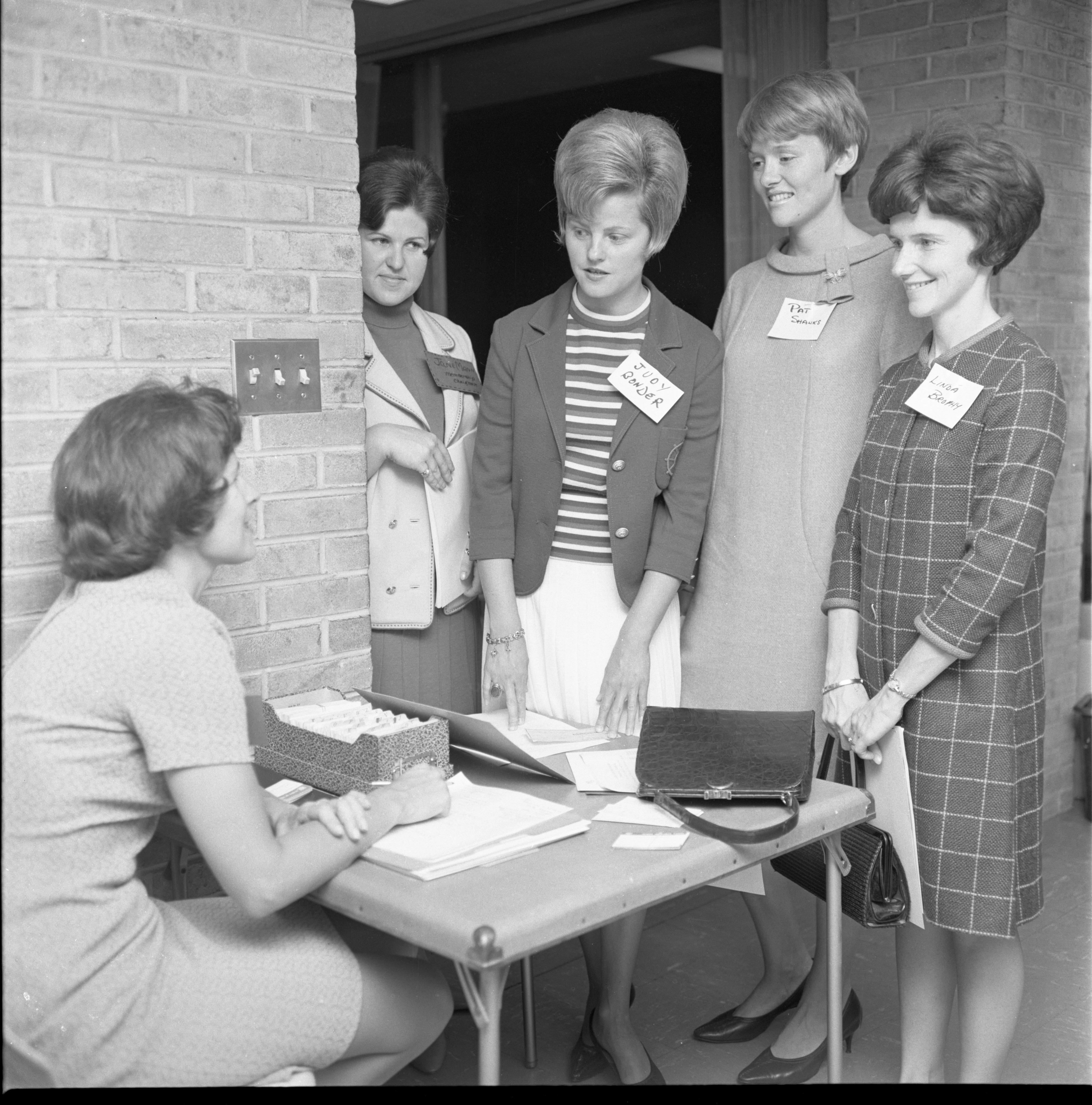 Ladies Discuss Finances With The Treasurer At A League Of Women Voters Gathering, September 1967 image
