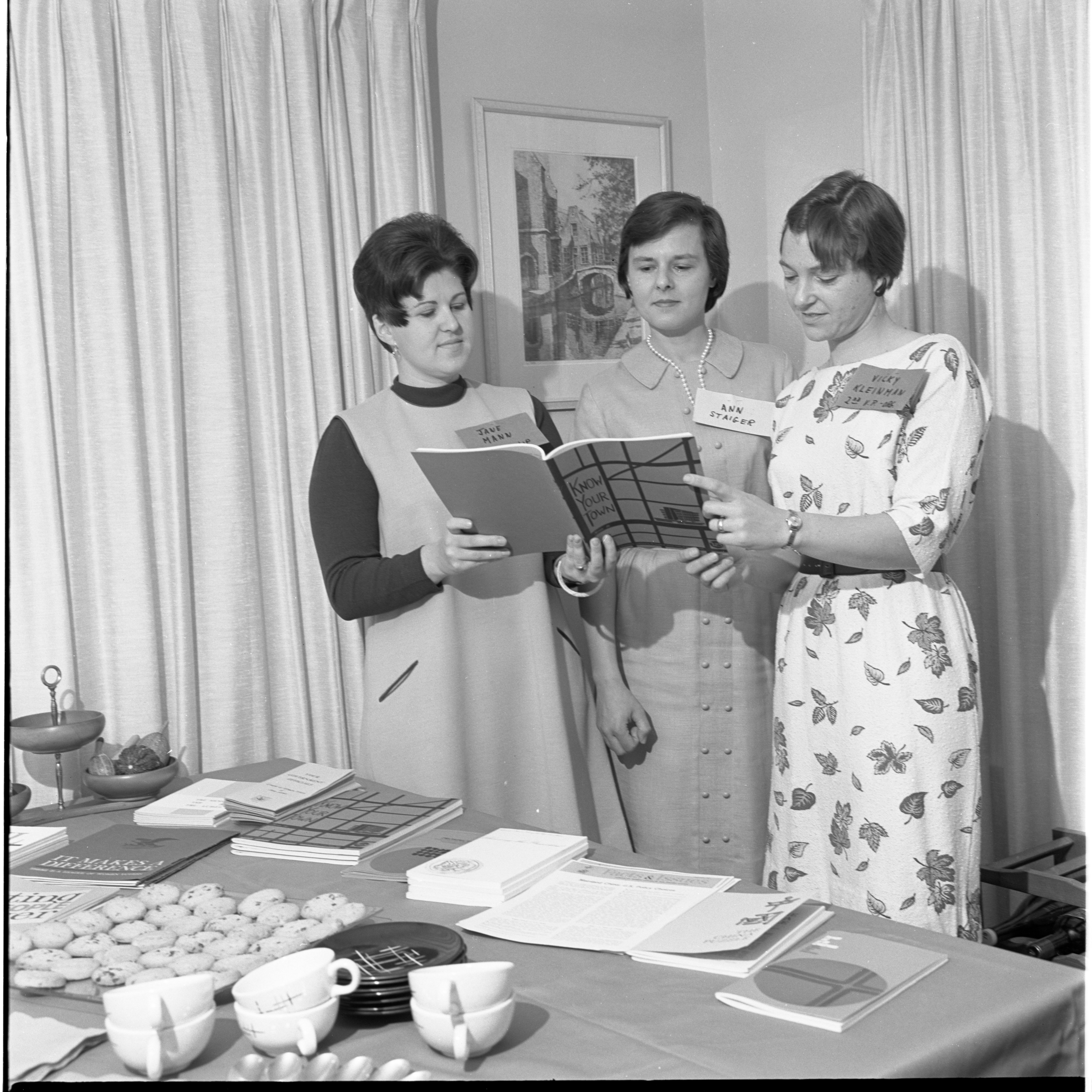 Jane Mann, Ann Staiger, & Vicky Kleinman At A League Of Women Voters Meeting, November 1967 image