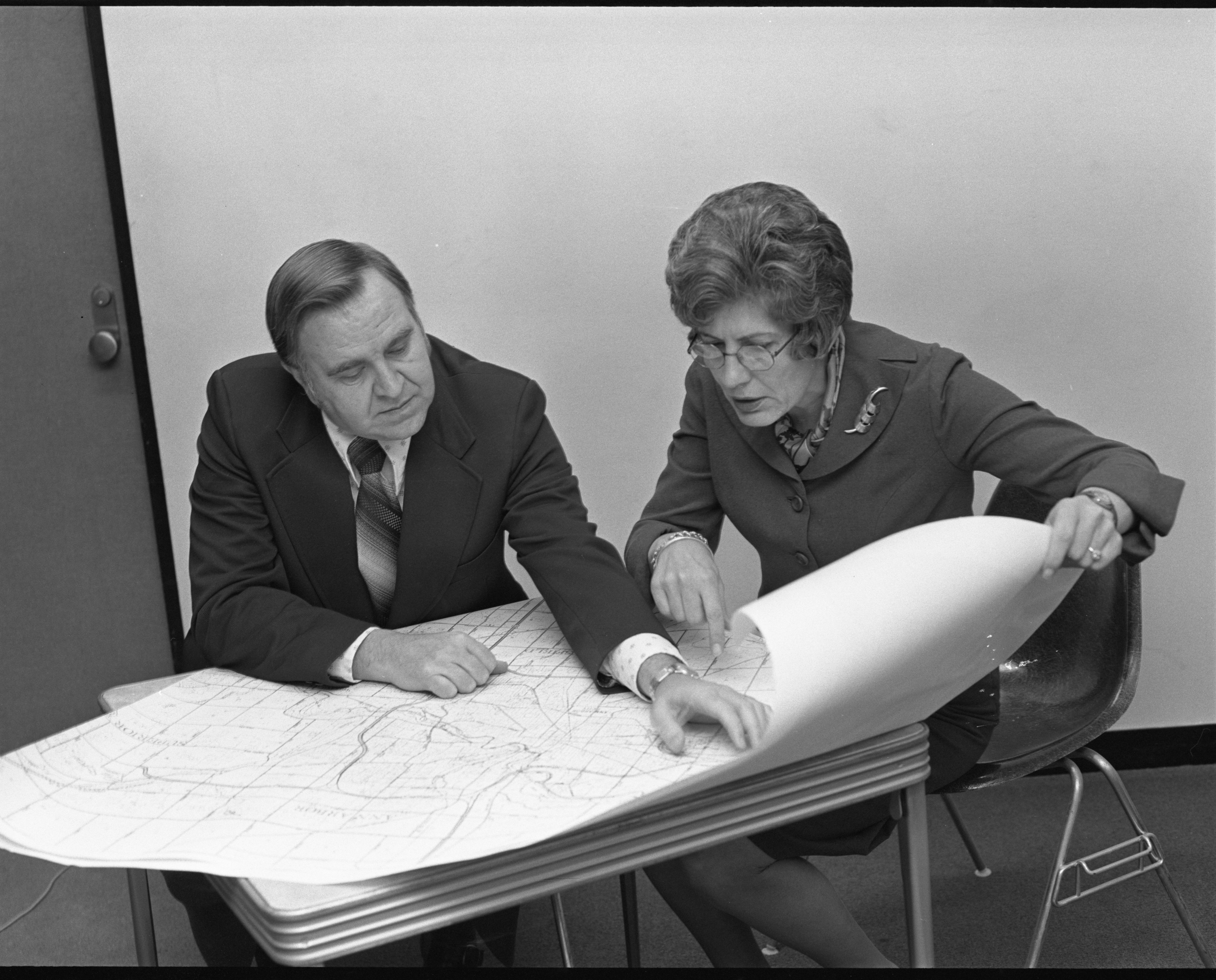 Harry Howard & Elizabeth Kummer With A Map Of Ann Arbor, January 1974 image