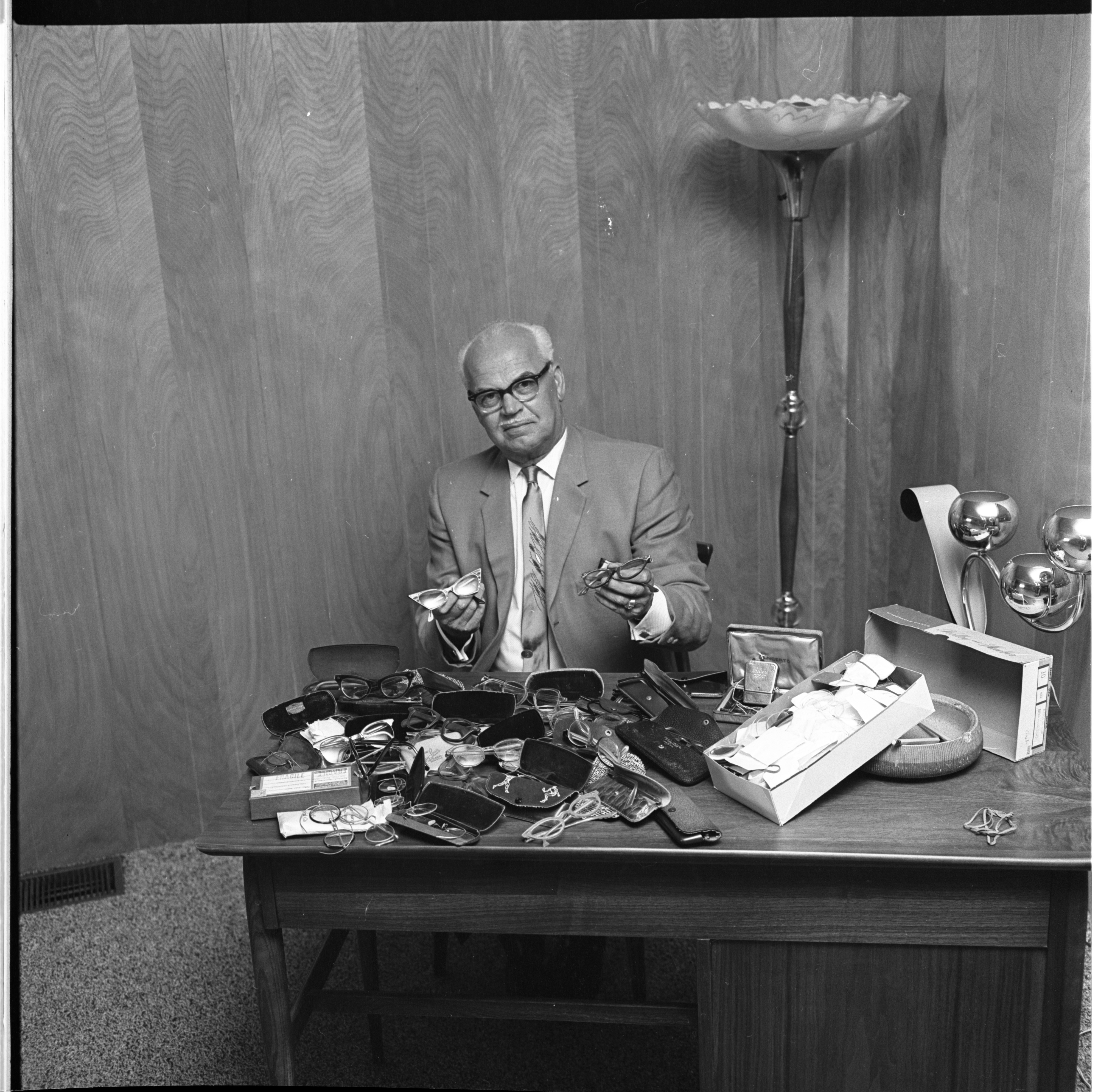 Frank Staffan With Eyeglasses Donated To The Lions Club, June 1963 image