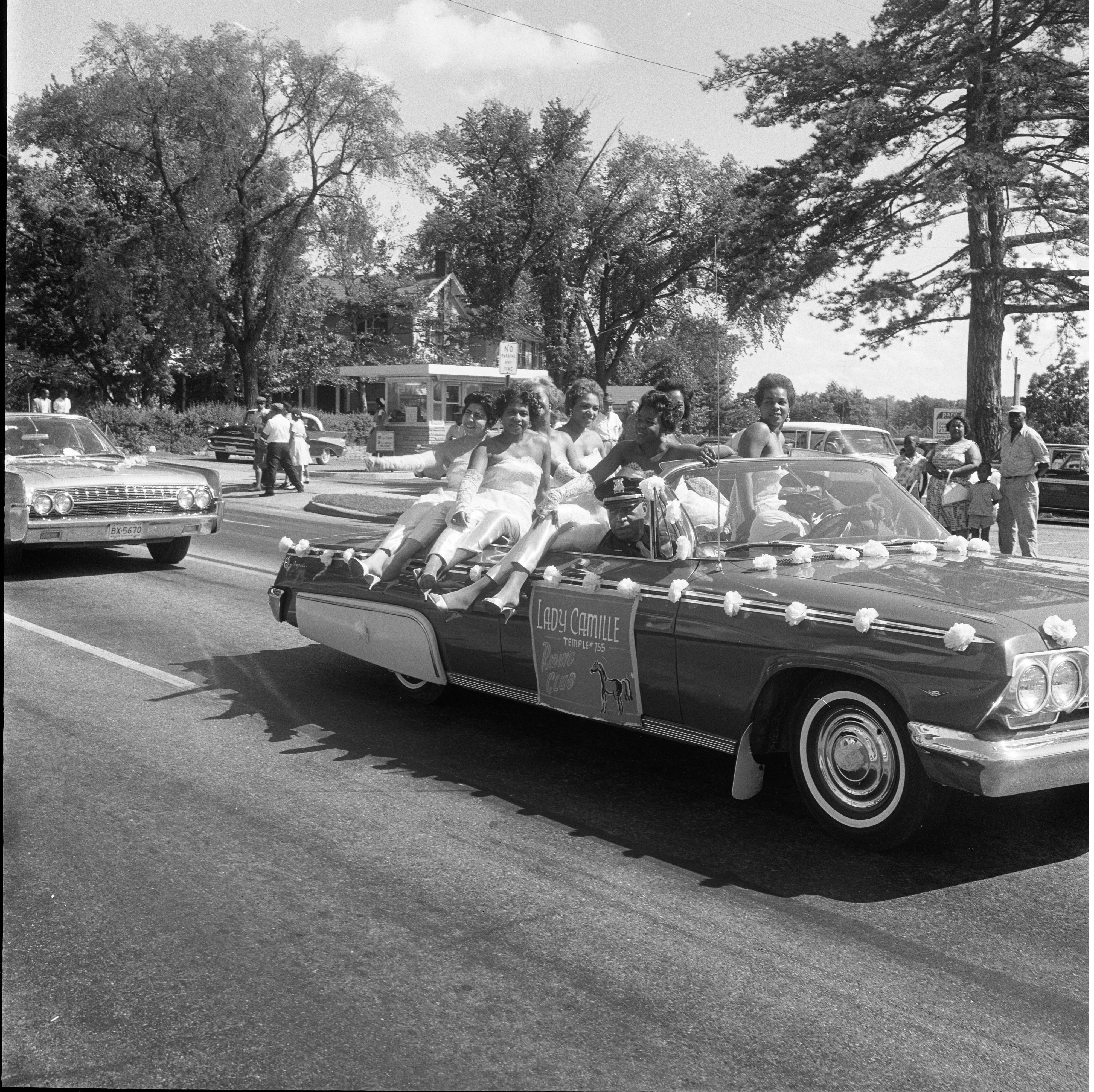 Lady Camille Riding Club, Temple No. 755 Riding In Car For The 26th Annual Elks Convention Parade, June 25, 1962 image