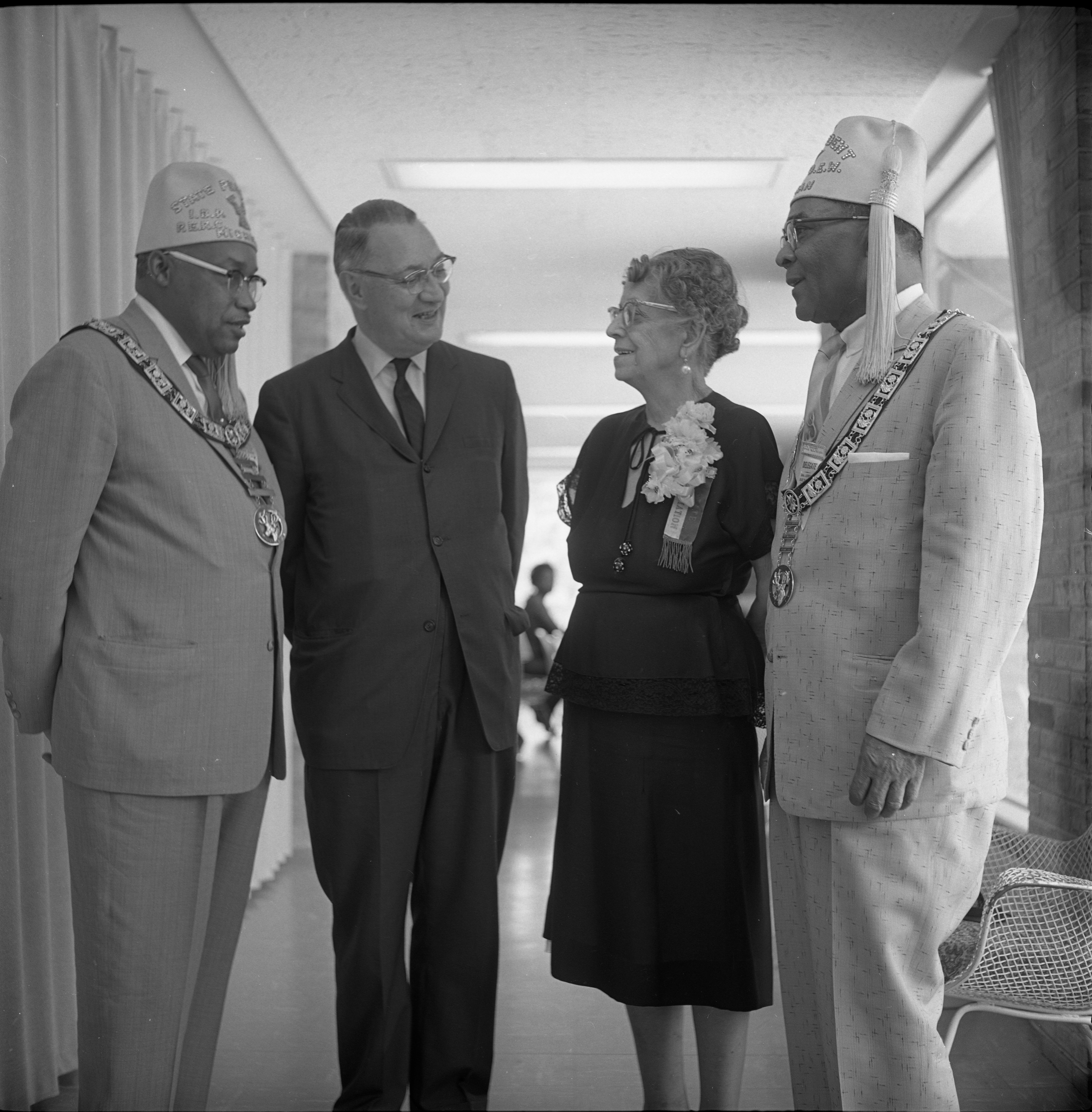 Mayor Cecil O. Creal Meets With Elks Convention Delegates John H. Burns, Grace Bryant, & Bertram V. Gregory, June 23, 1962 image