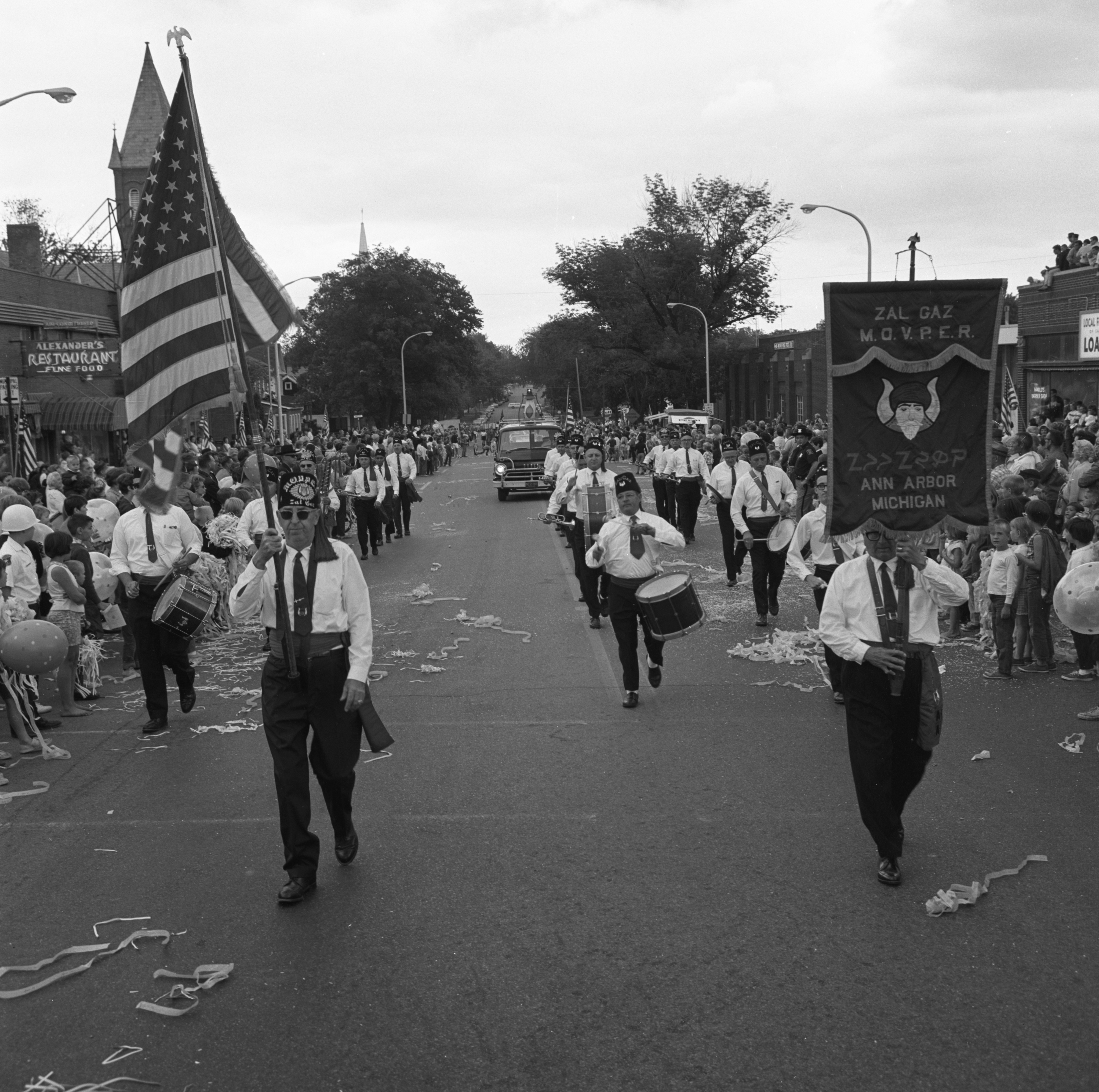 Zal Gaz Grotto Drum & Bugle Corps March In Saline Parade Honoring Aviator Ann Pellegreno's Amelia Earhart Commemorative Flight, July 1967 image