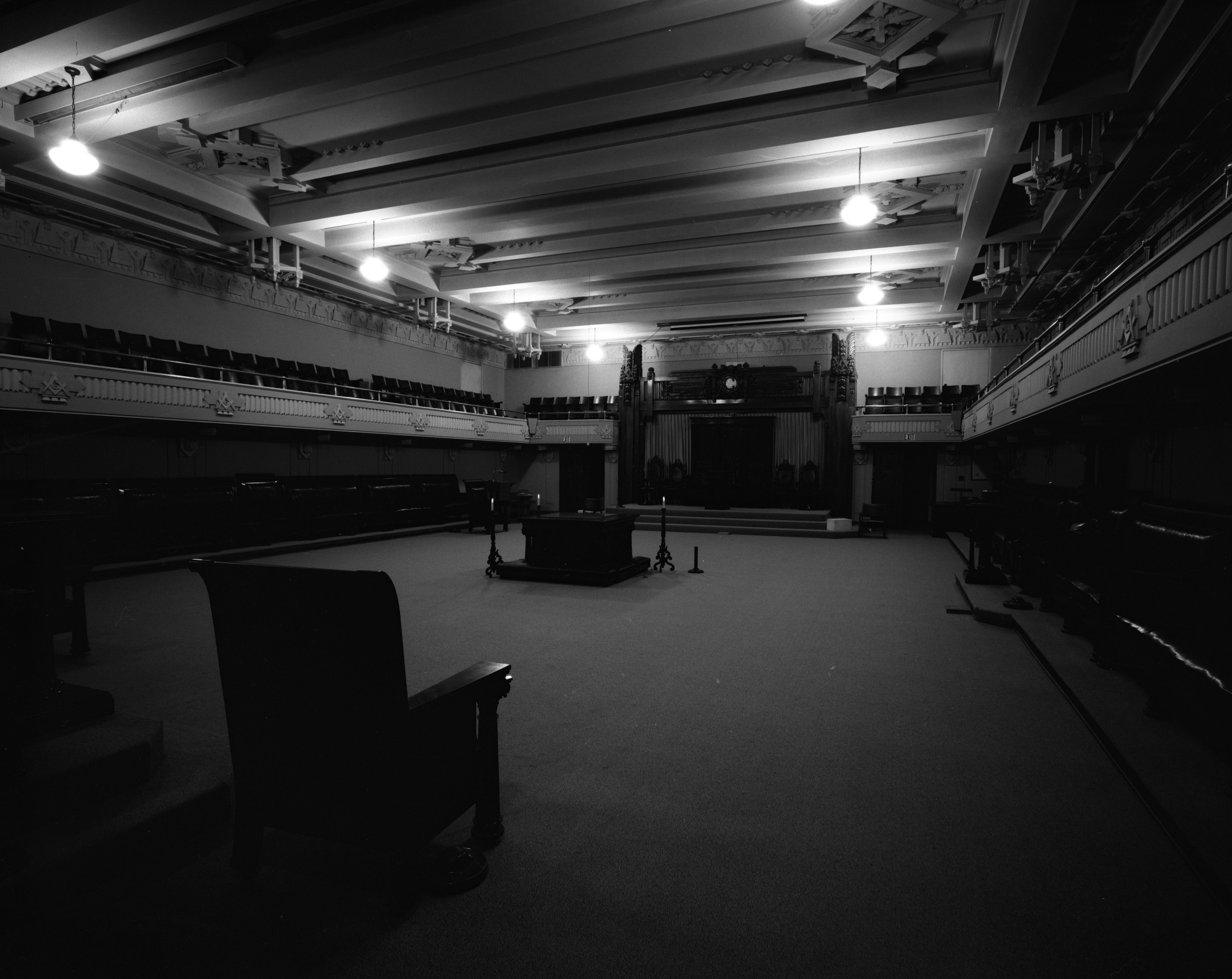 Interior lodge room of the Masonic Temple, July 1973 image