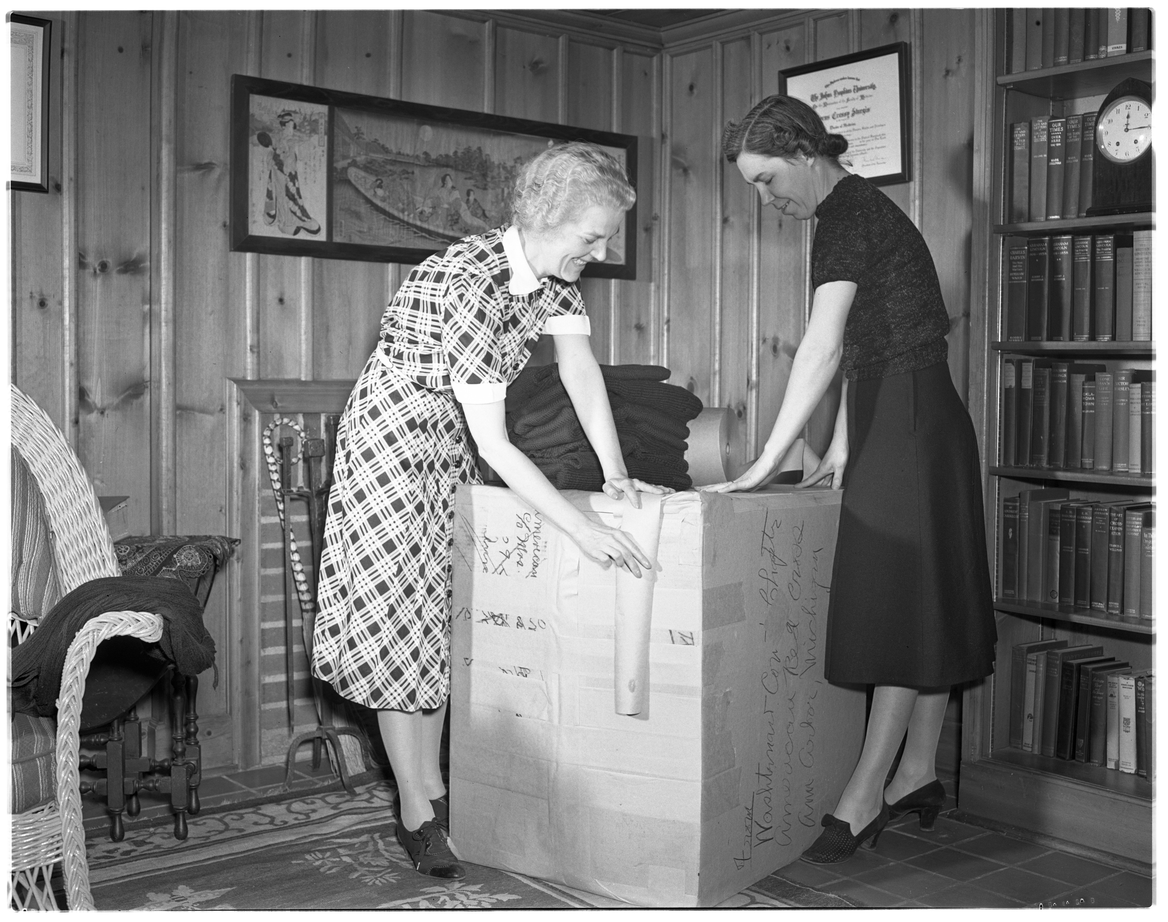 Mrs. Sturgis and Mrs. McCready of the Red Cross Packing Box for Finland, April 1940 image