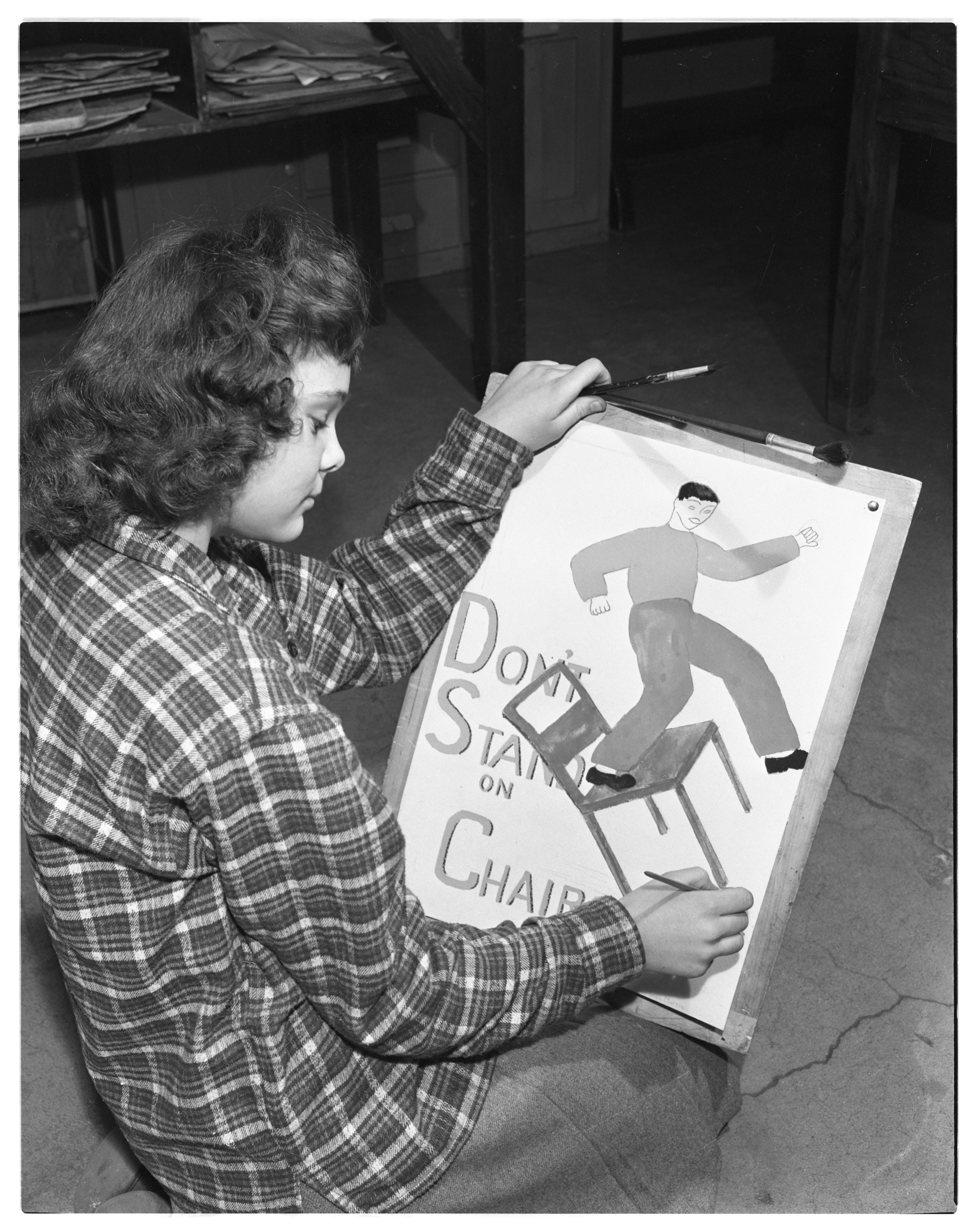 Jones School Student Marion Martin Prepares for Red Cross Poster Contest, March 1944 image