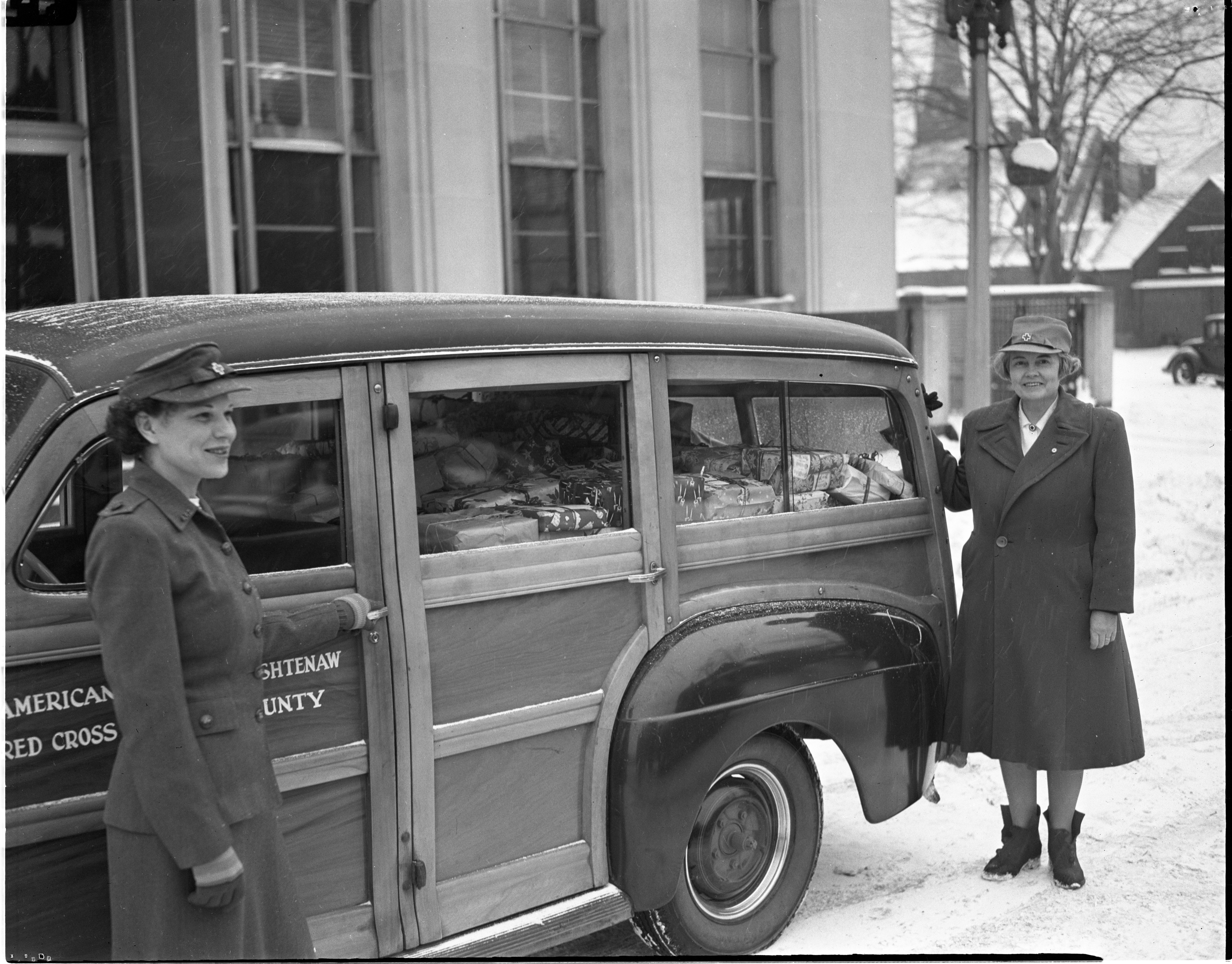 Washtenaw County Red Cross Bus Filled With Christmas Gifts For Percy Jones Patients, Undated image