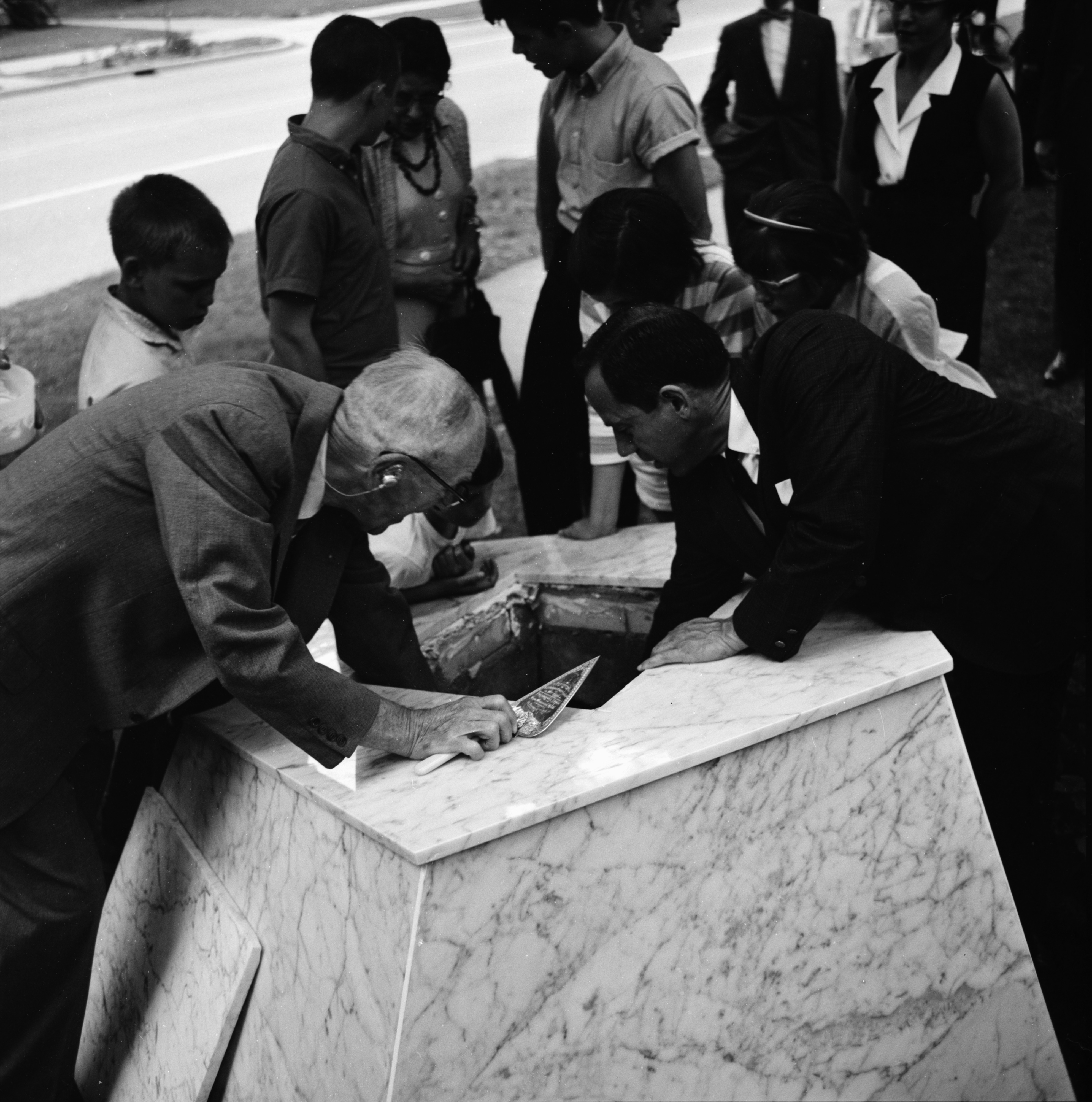 Looking down into the Time Capsule on Huron Street Lawn, June 1962 image